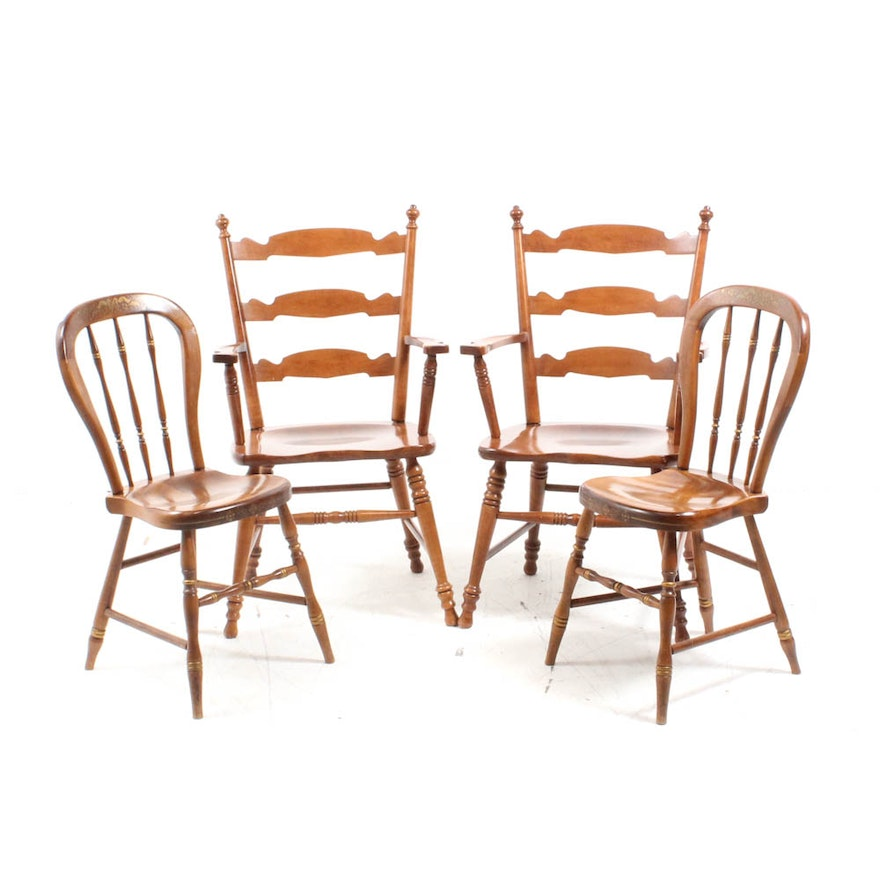 Tell City Chair Company Hard Rock Maple Chairs With Gold Stencils