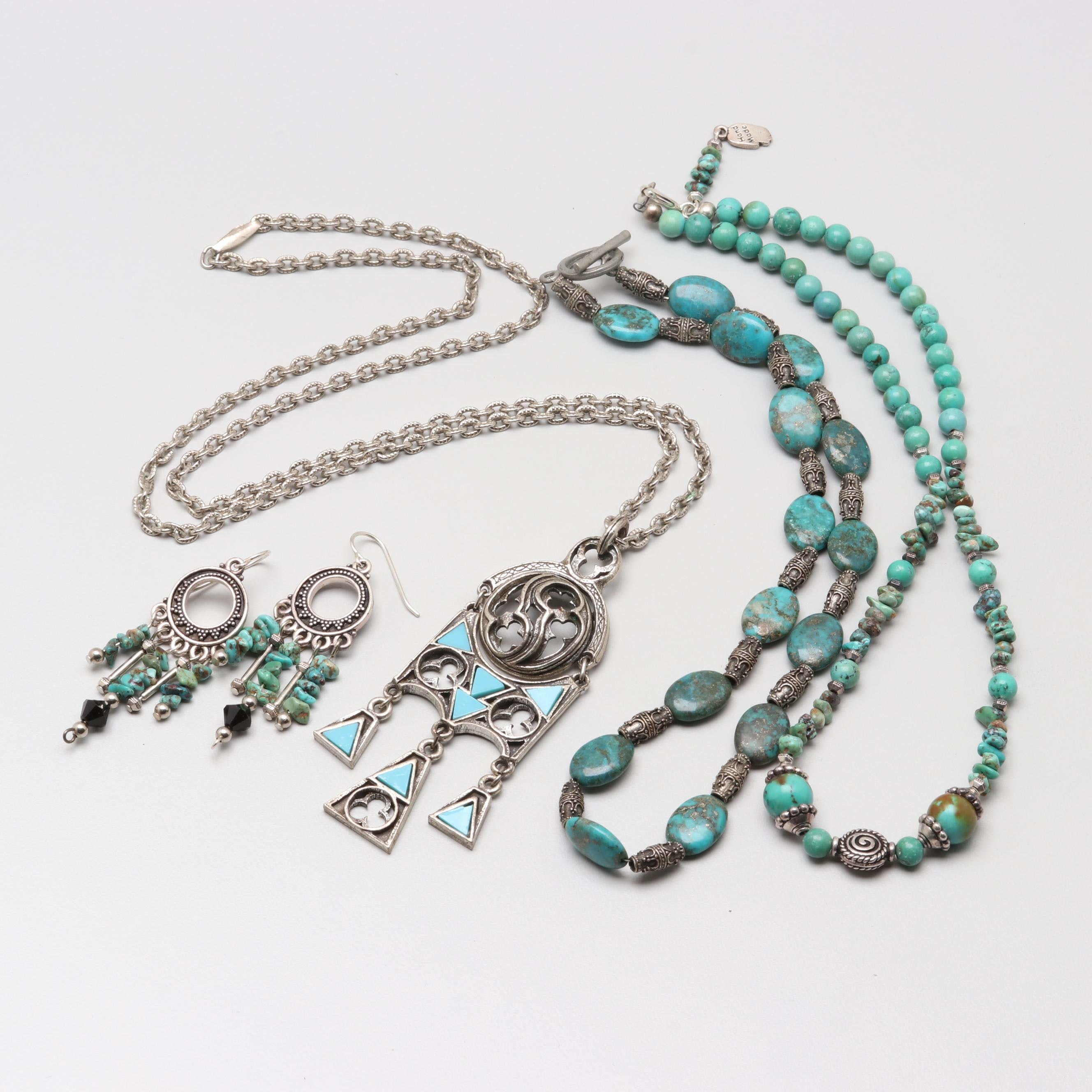 Silver Tone Turquoise Necklace and Earring Selection