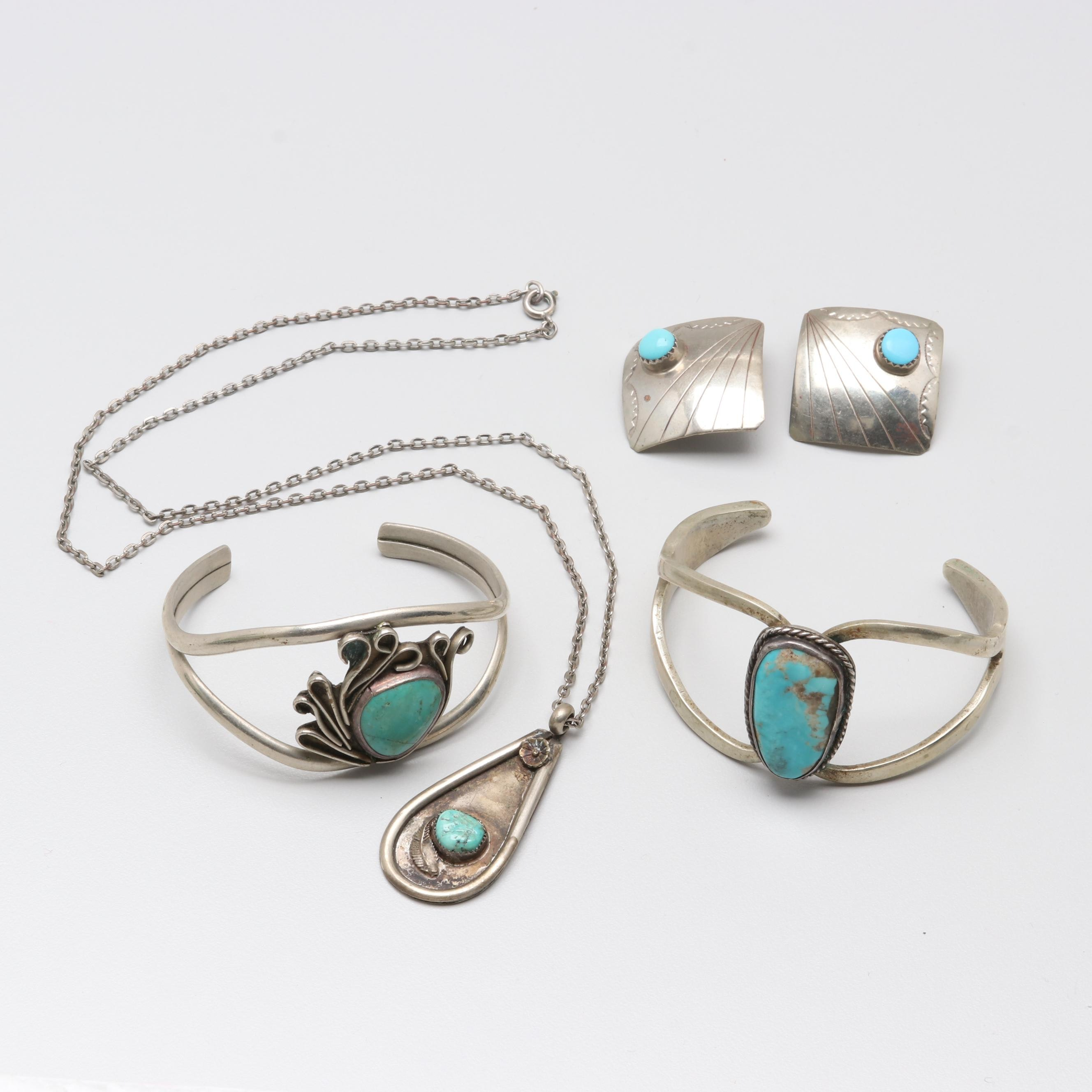 Silver Tone Turquoise Earrings, Necklace, and Bracelet Selection