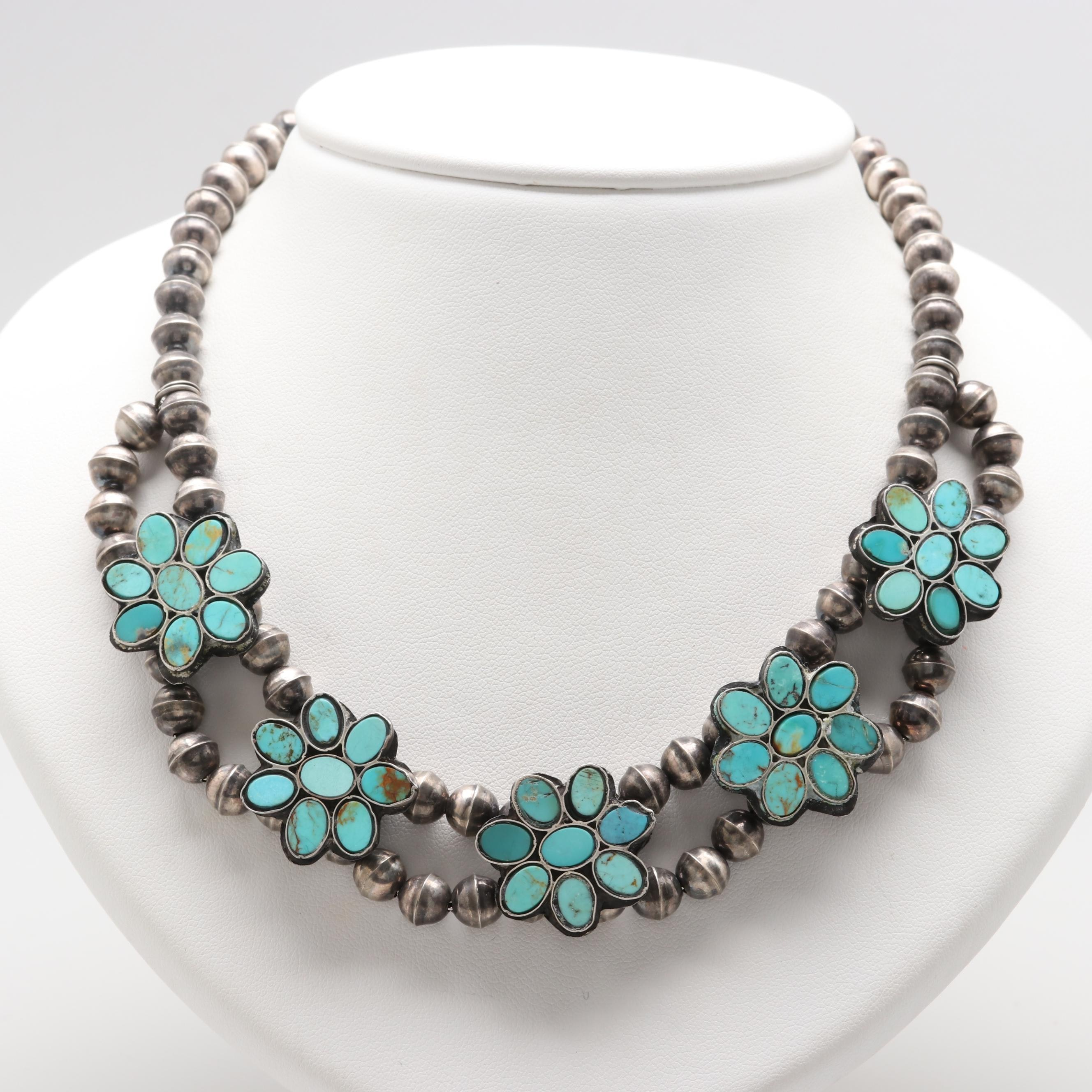 Southwestern Style Sterling Silver Turquoise Floral Necklace