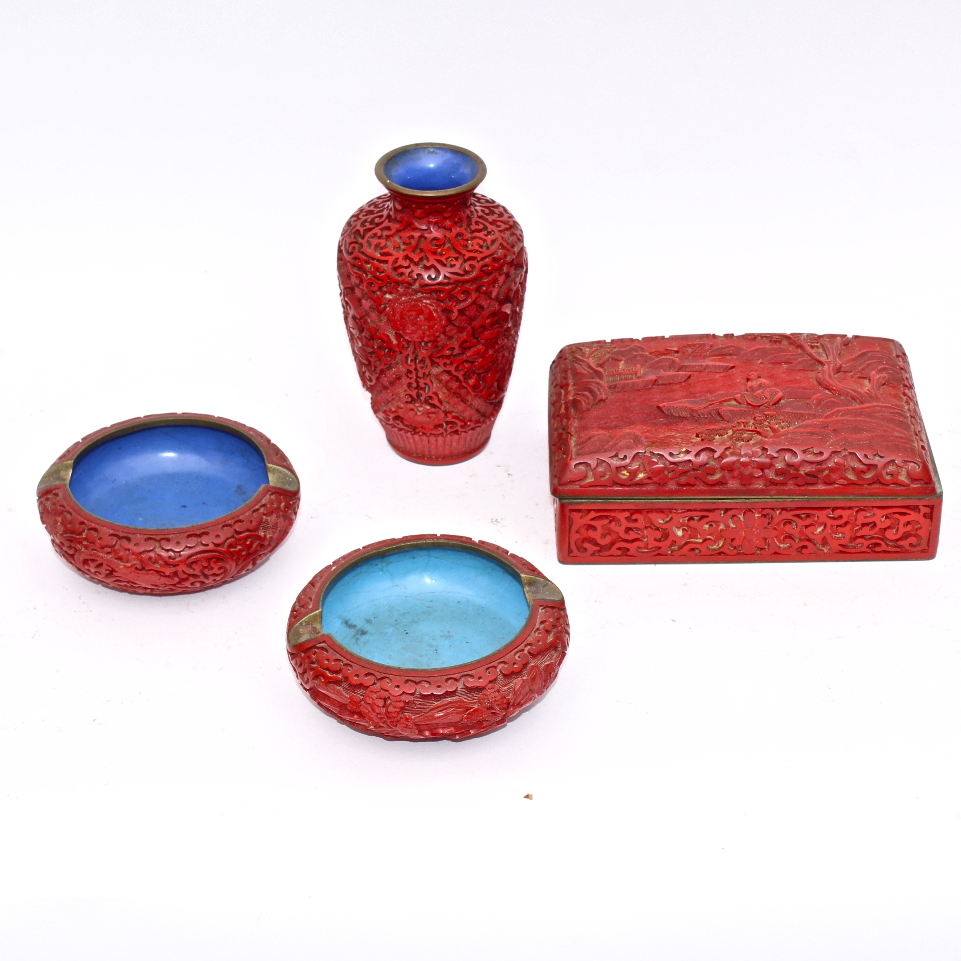 Chinese Red Laquer Cinnabar Style Table Decor