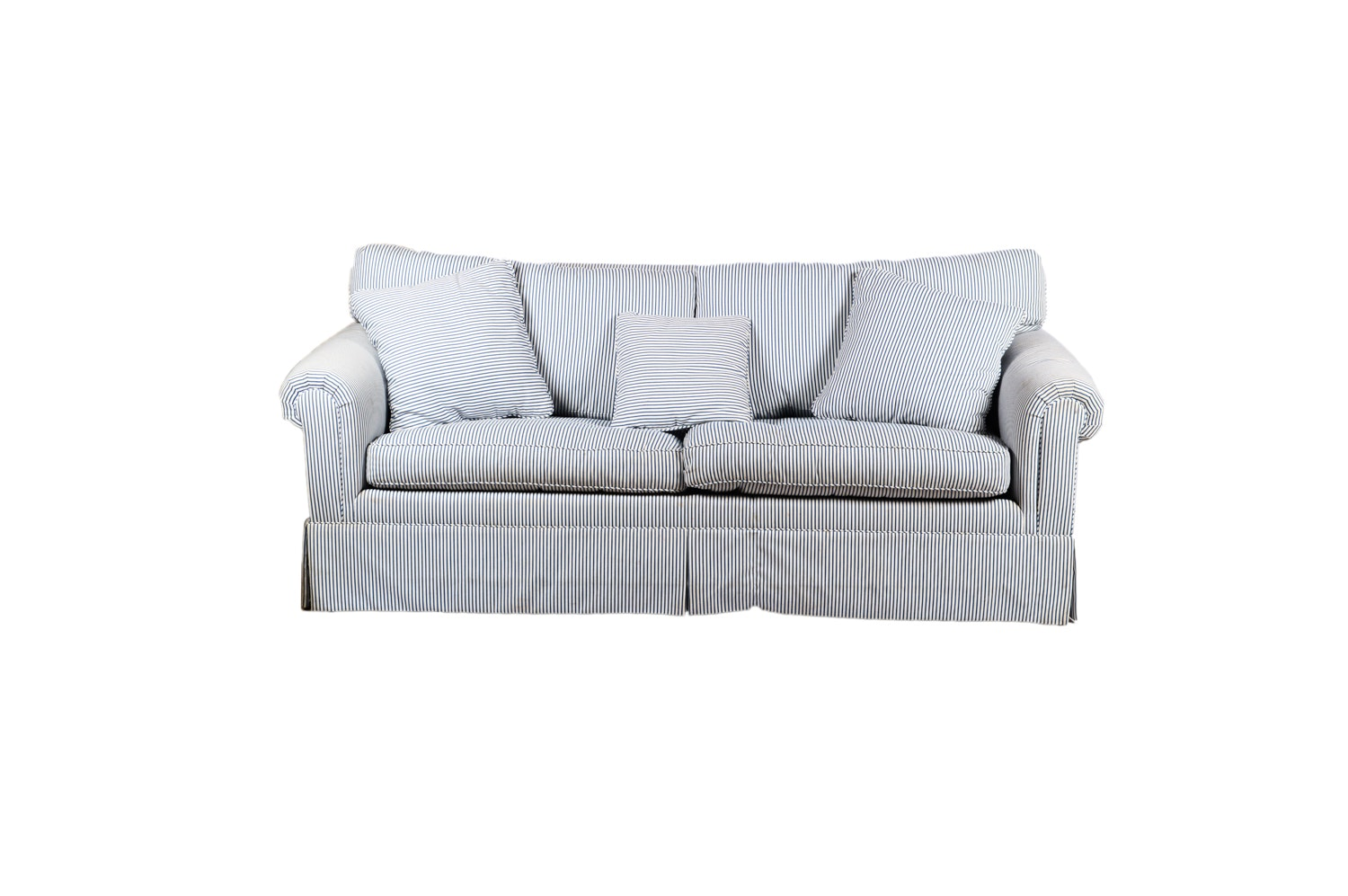 Stripe Upholstered Sleeper Sofa, 21st Century