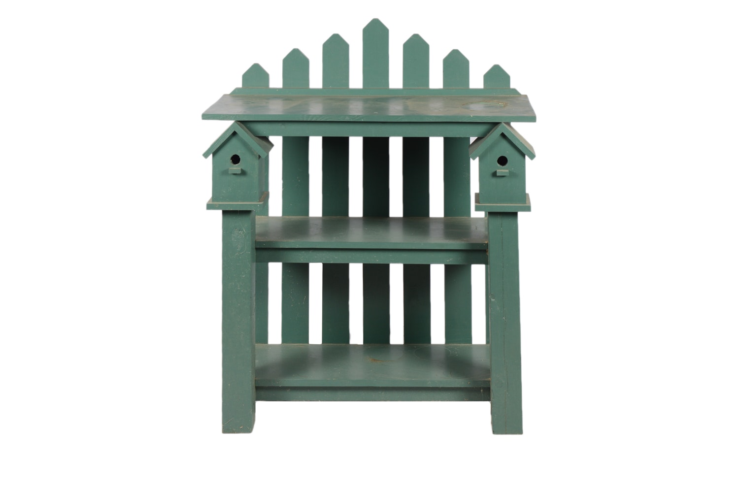 Green Painted Wooden Garden Shelf
