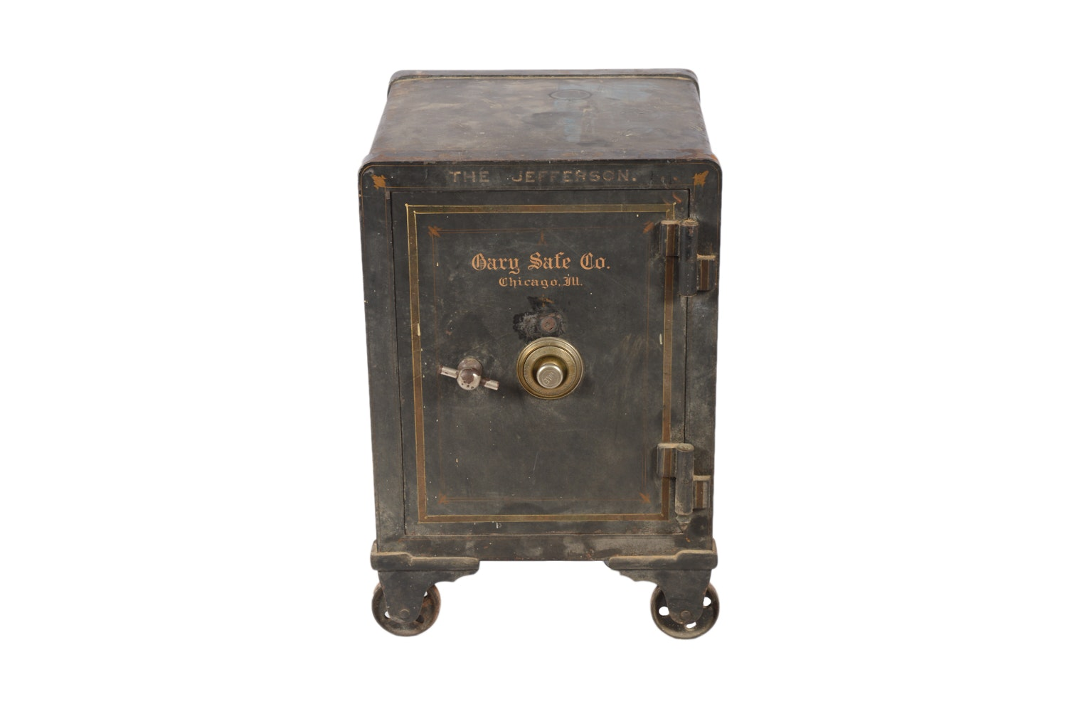 Late 1800s - Early 1900s Antique Cary Safe Co. of Chicago Safe with Castor Feet