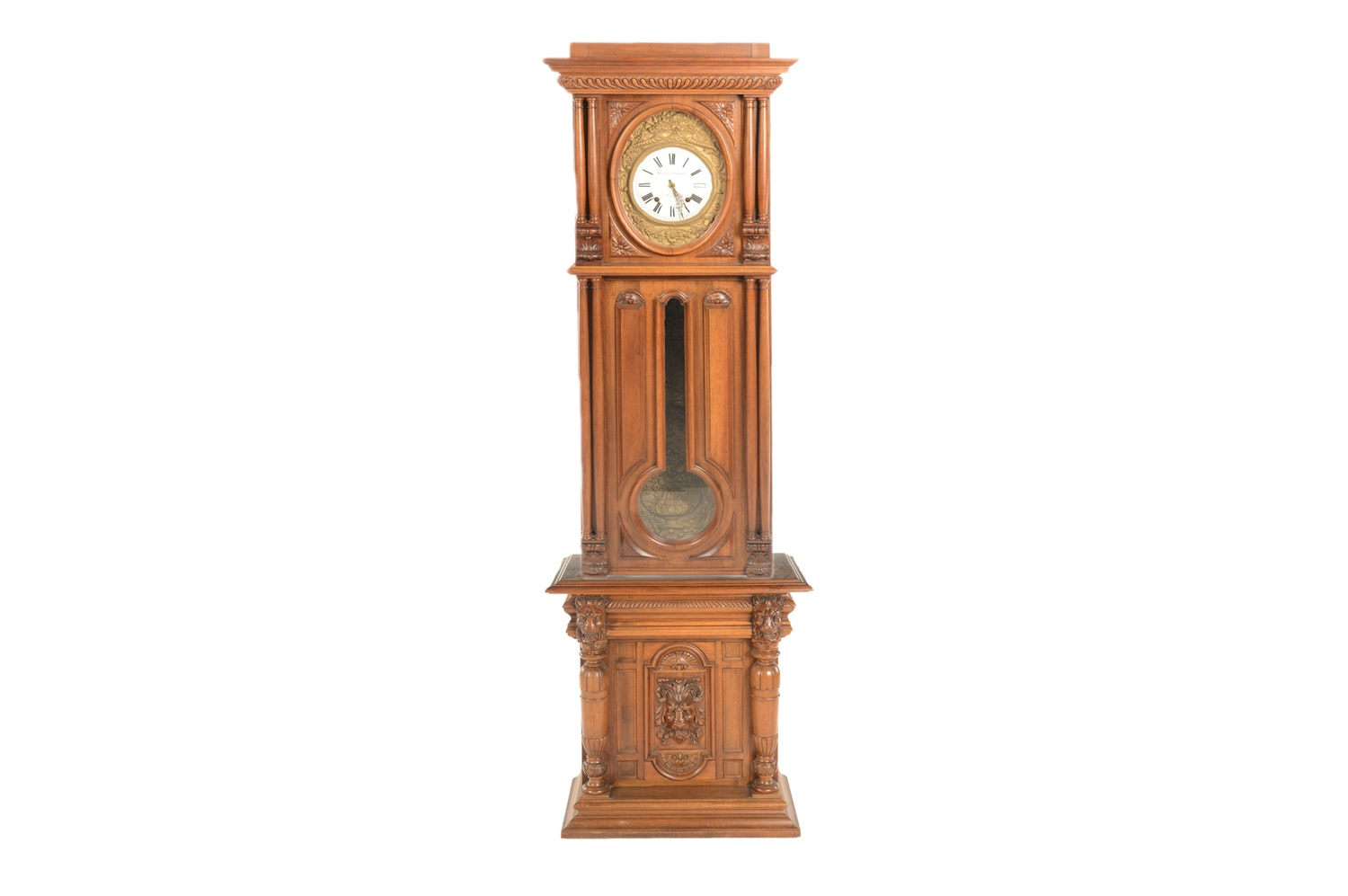 French Provincial Carved Walnut Tall Case Clock, Early 20th Century