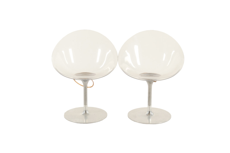 Mid Century Modern Tulip Style Acrylic Saucer Chairs, Mid-20th Century