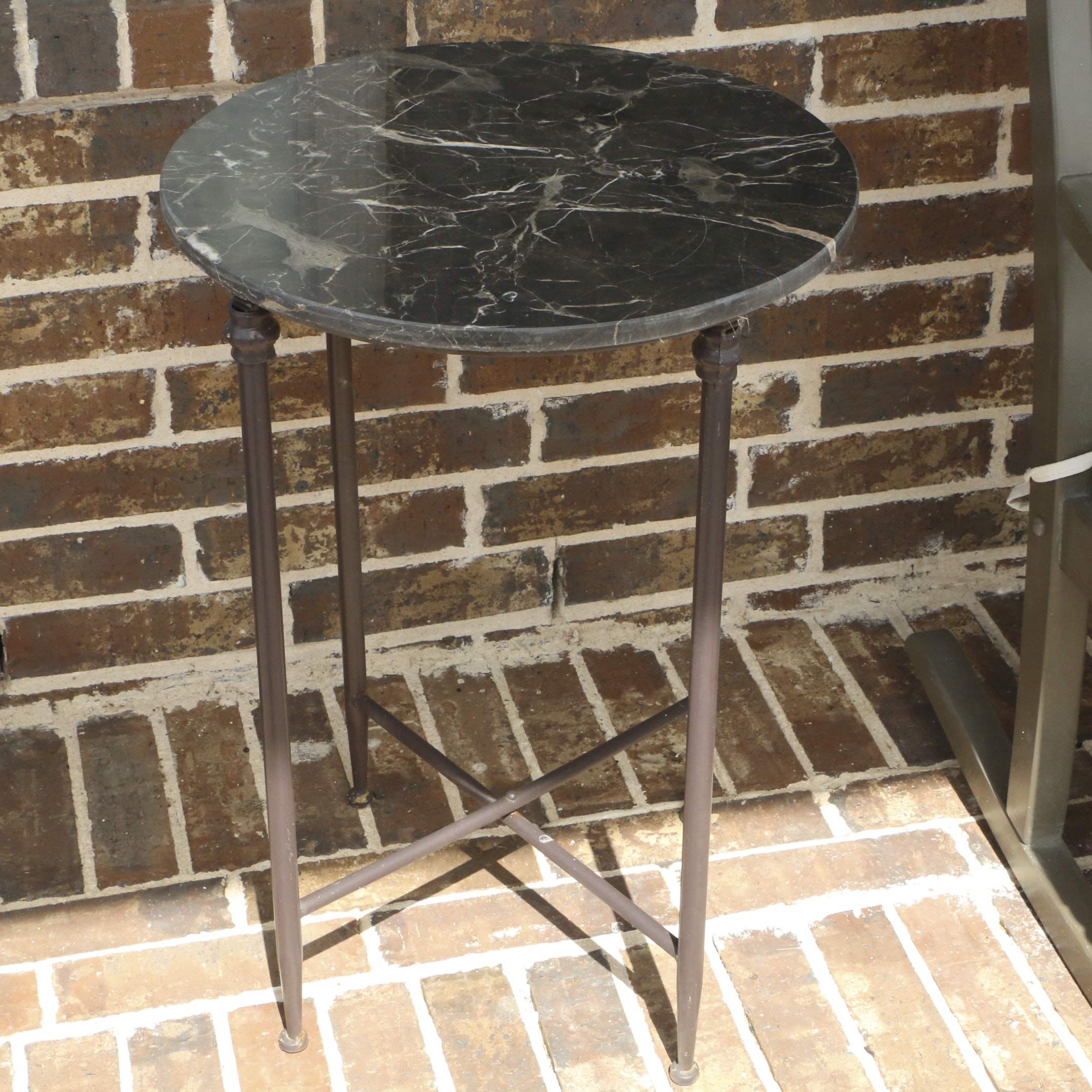 Contemporary Metal and Stone Top Round Side Table