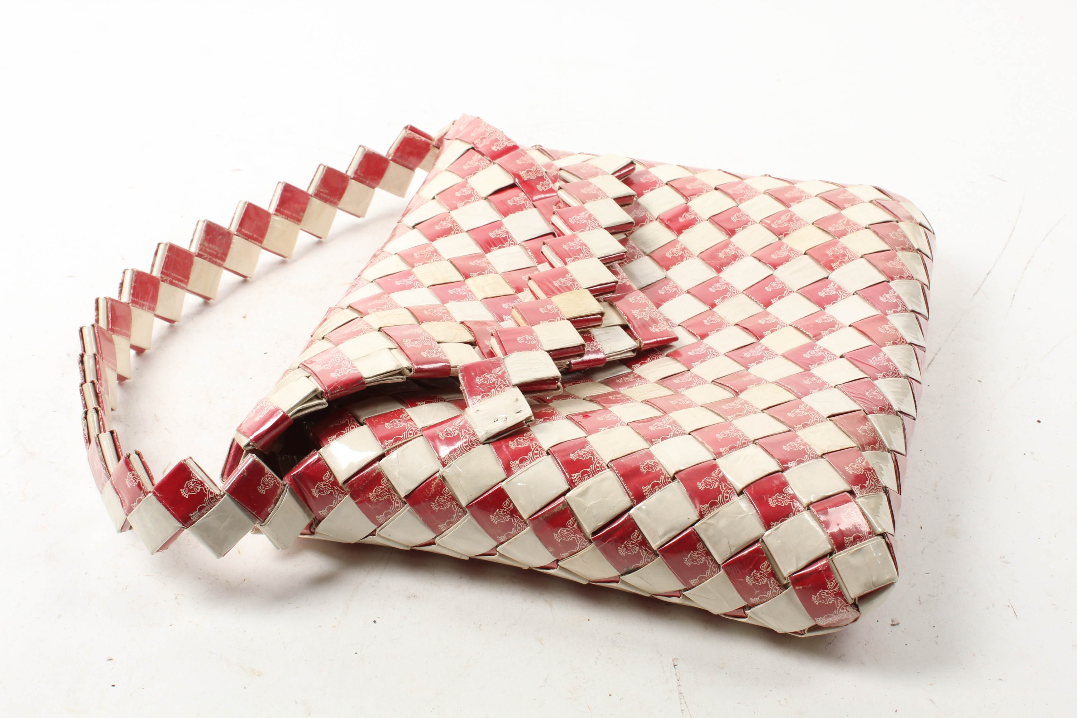 Vintage Woven Cigarette Pack Handbag in Red and White
