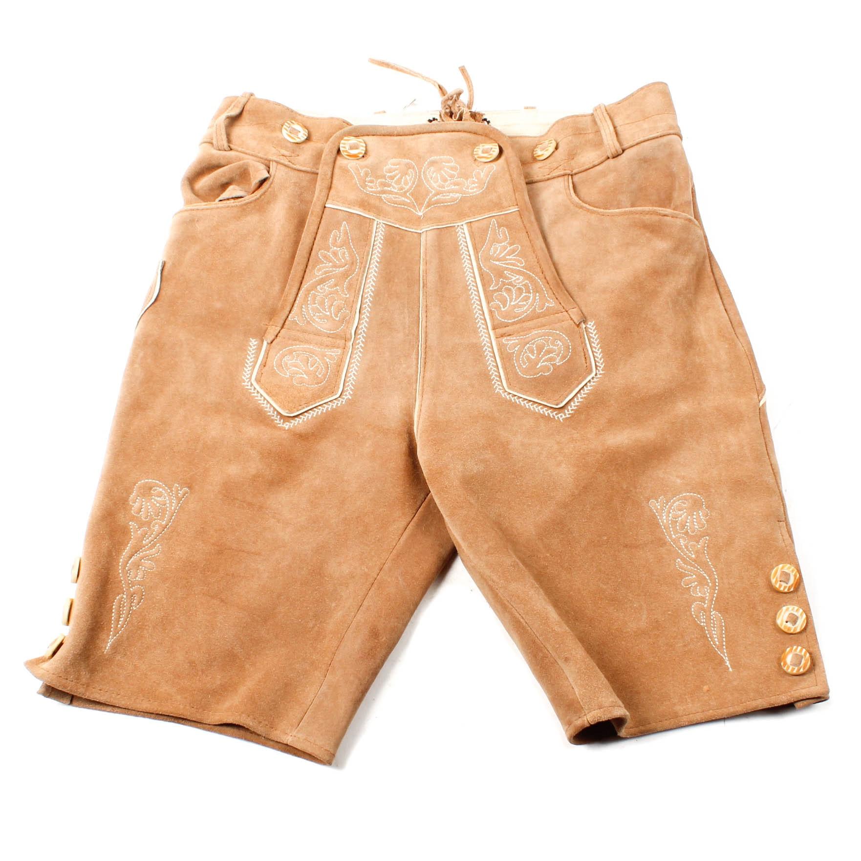 Vintage Alpine Tan Suede Lederhosen with Stitched Detailing