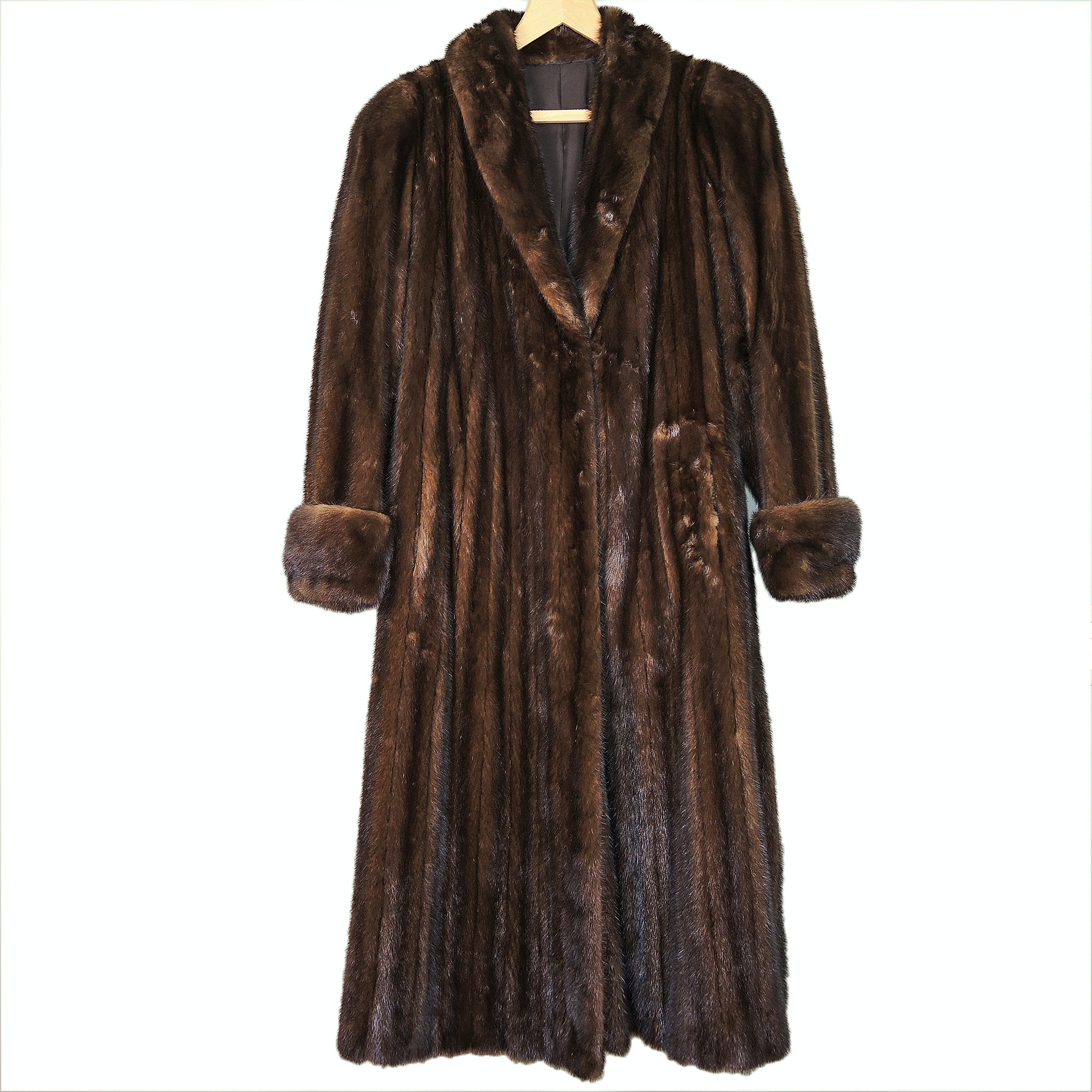 Full-Length Brown Mink Fur Coat