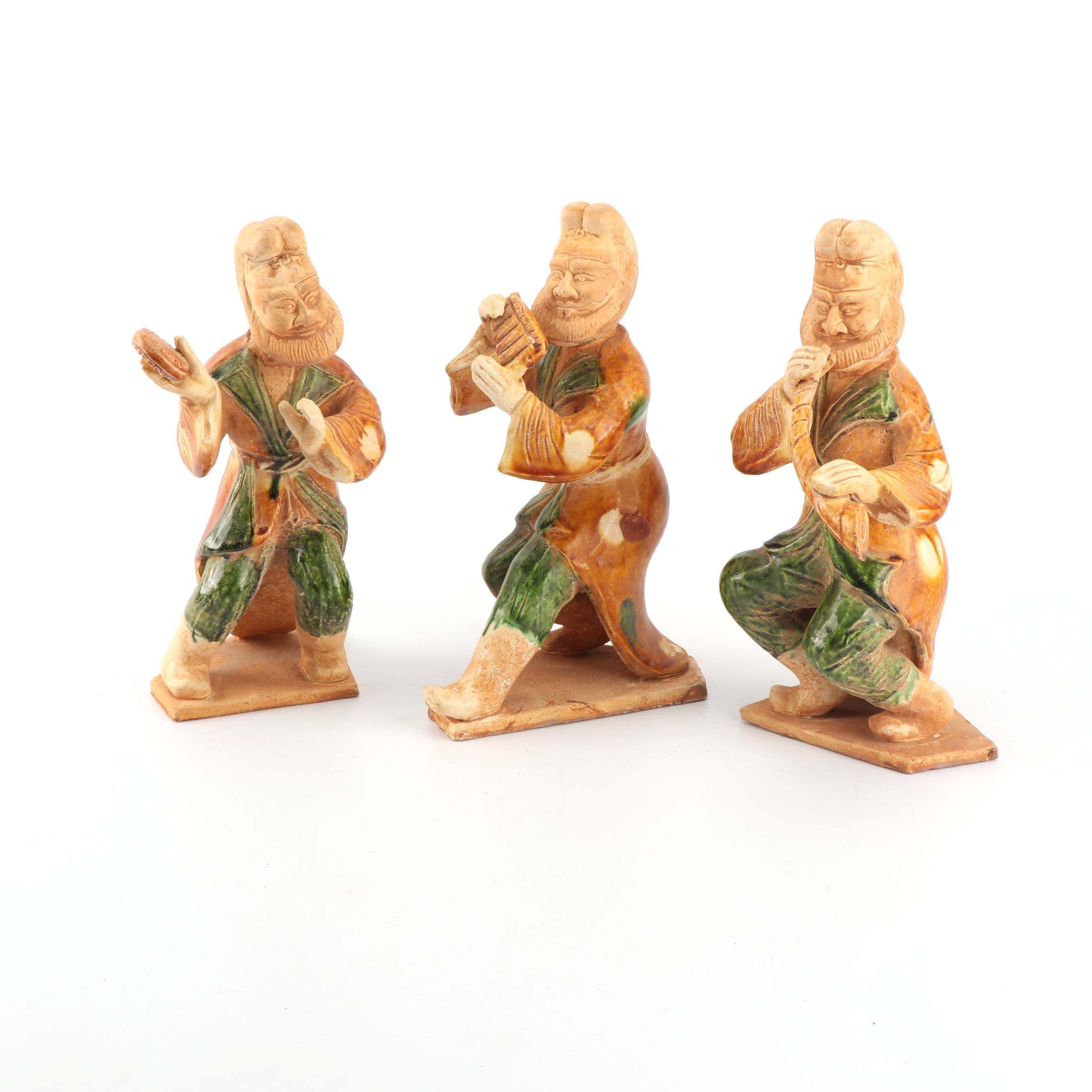 Chinese Tang Style Sancai Glazed Ceramic Musician Figurines