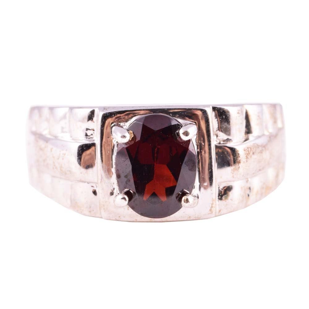Sterling Silver 2.35 CT Garnet Ring