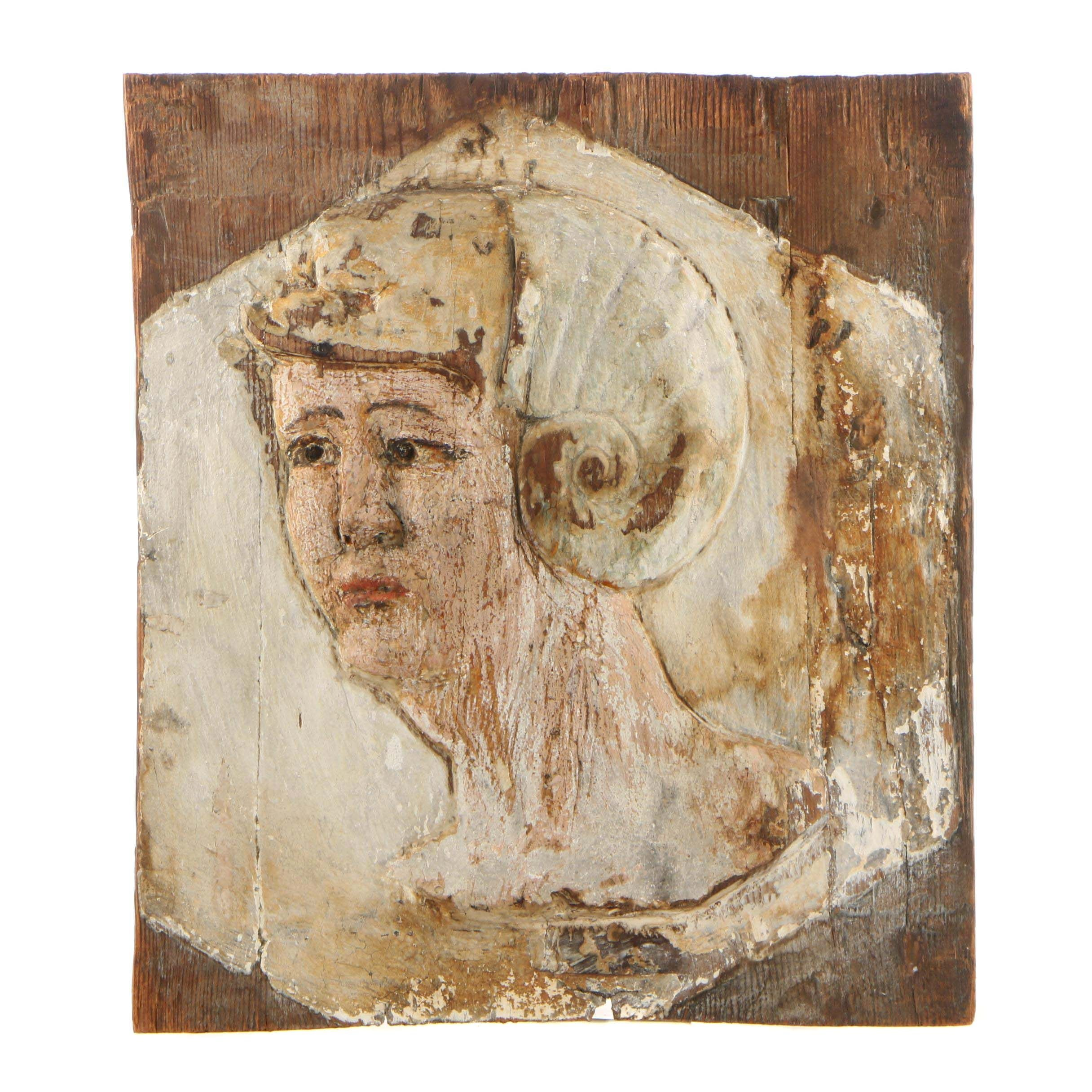 16th Century Style Italian Polychrome Wooden Relief