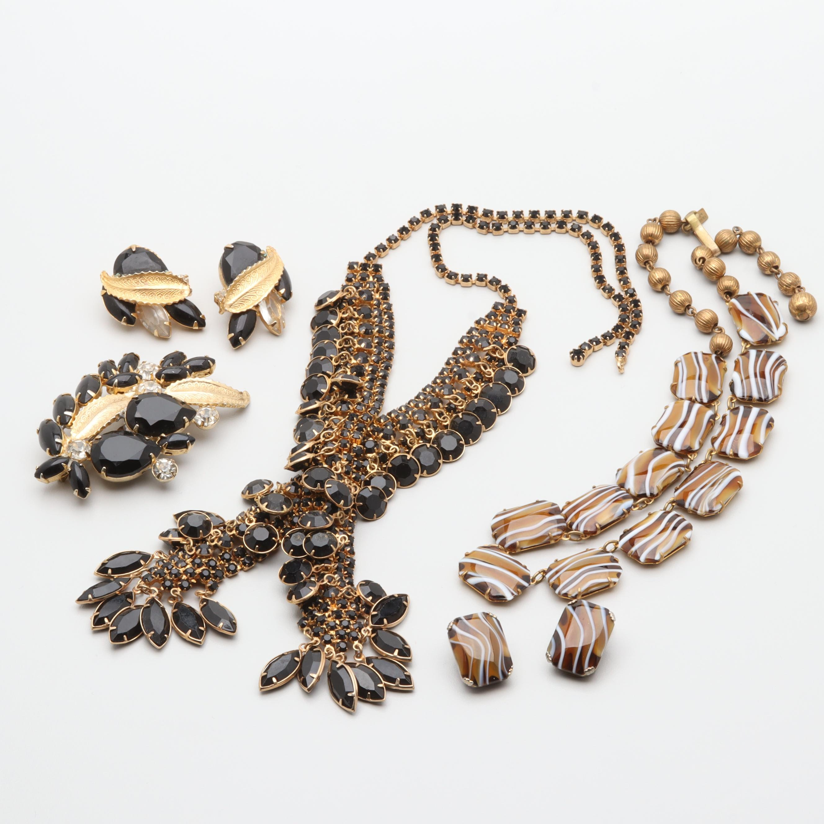 Vintage Gold Tone Glass and Foilback Jewelry Collection