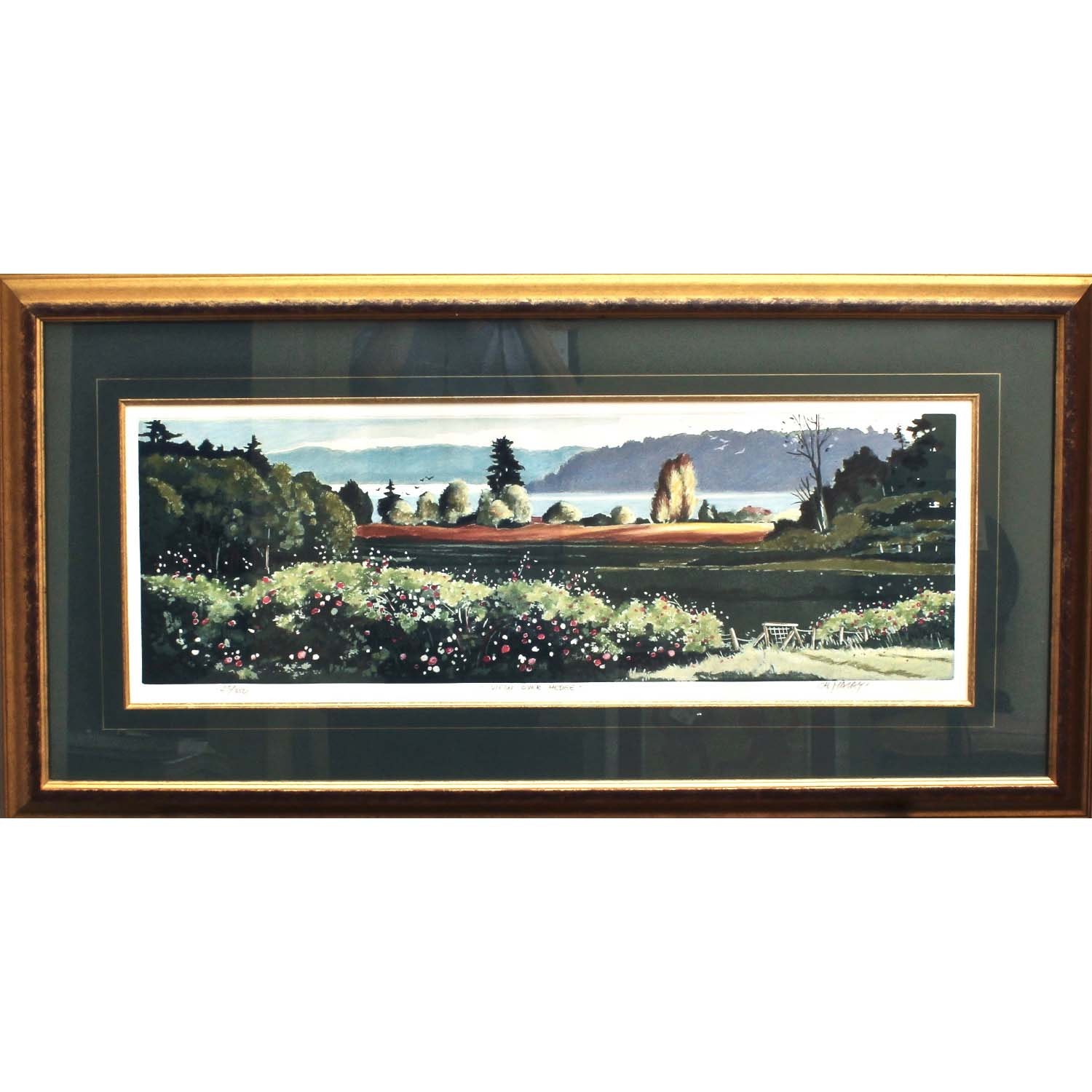 "Christa Malay Hand Colored Etching ""View Over Hedge"""