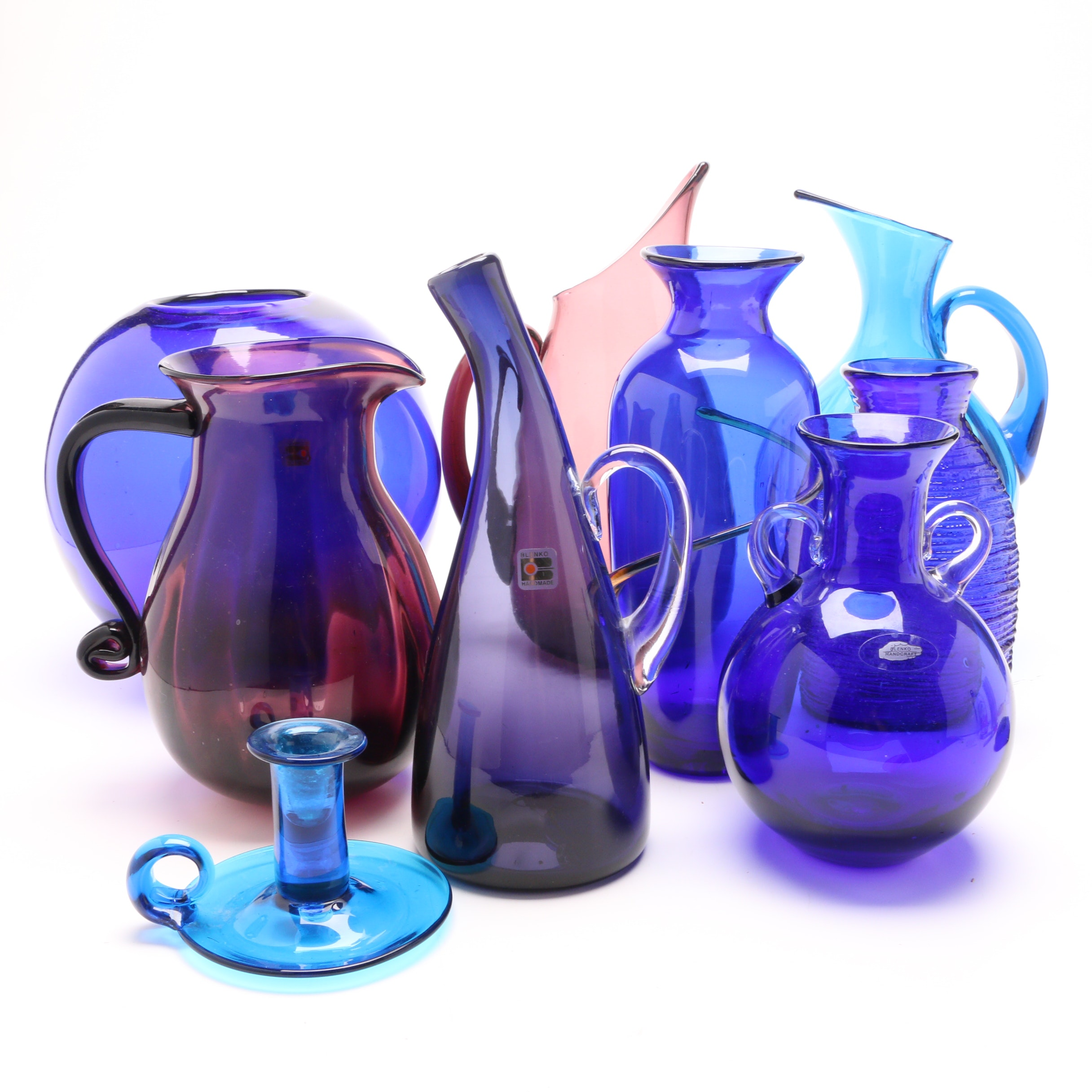 Blenko Glass Company Cobalt Blue and Violet Glass Vases and Pitchers
