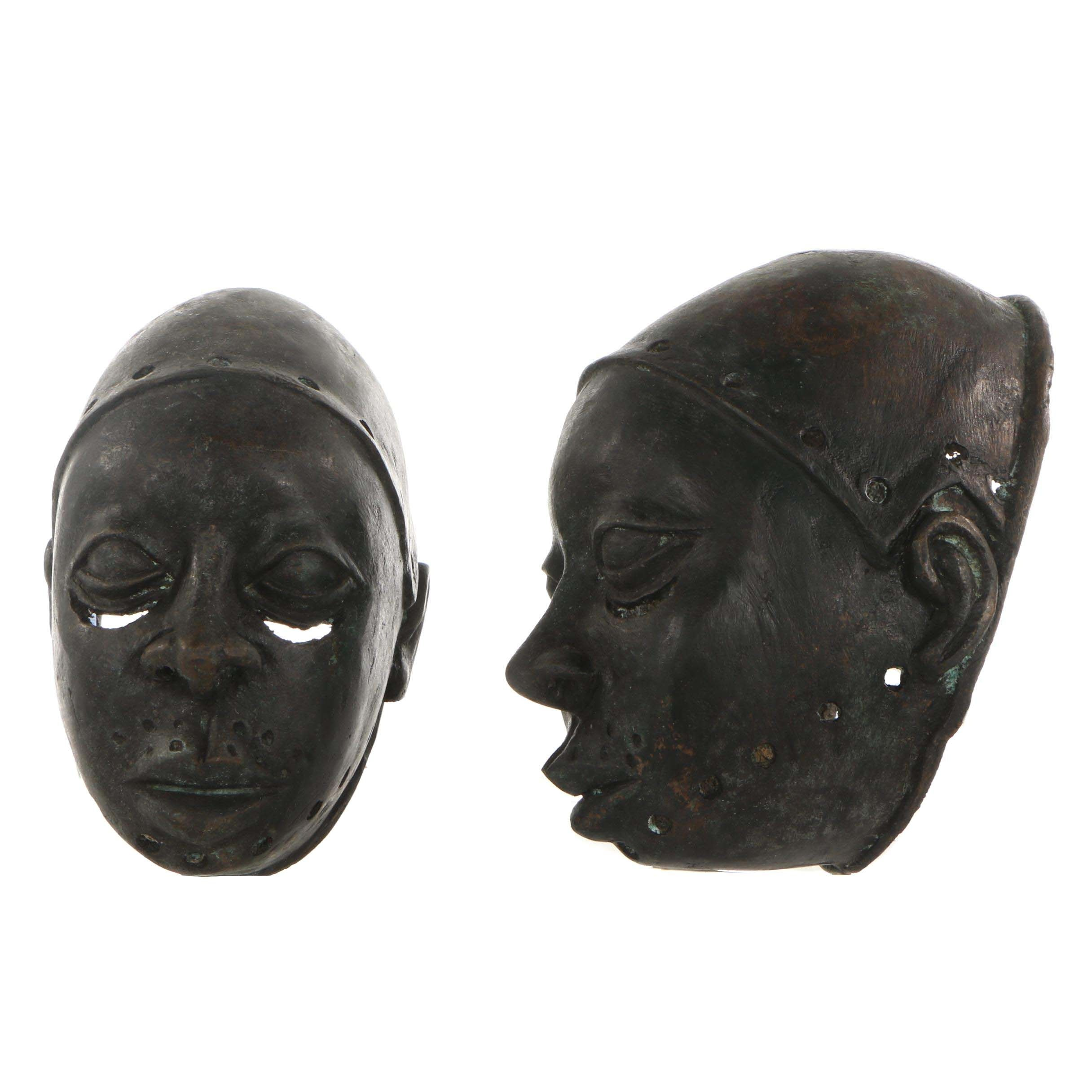 20th Century Decorative Copper Alloy Obalufon Masks