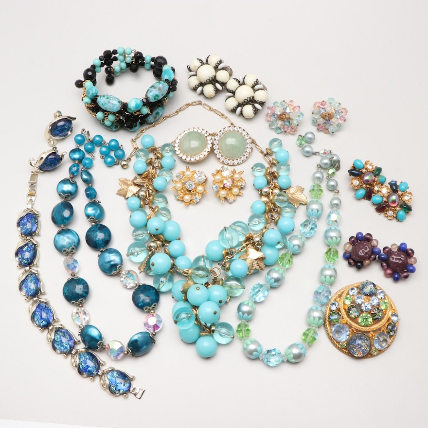 a47b5f97afc Assortment of Costume Jewelry with Green Quartz and Imitation Pearl ...