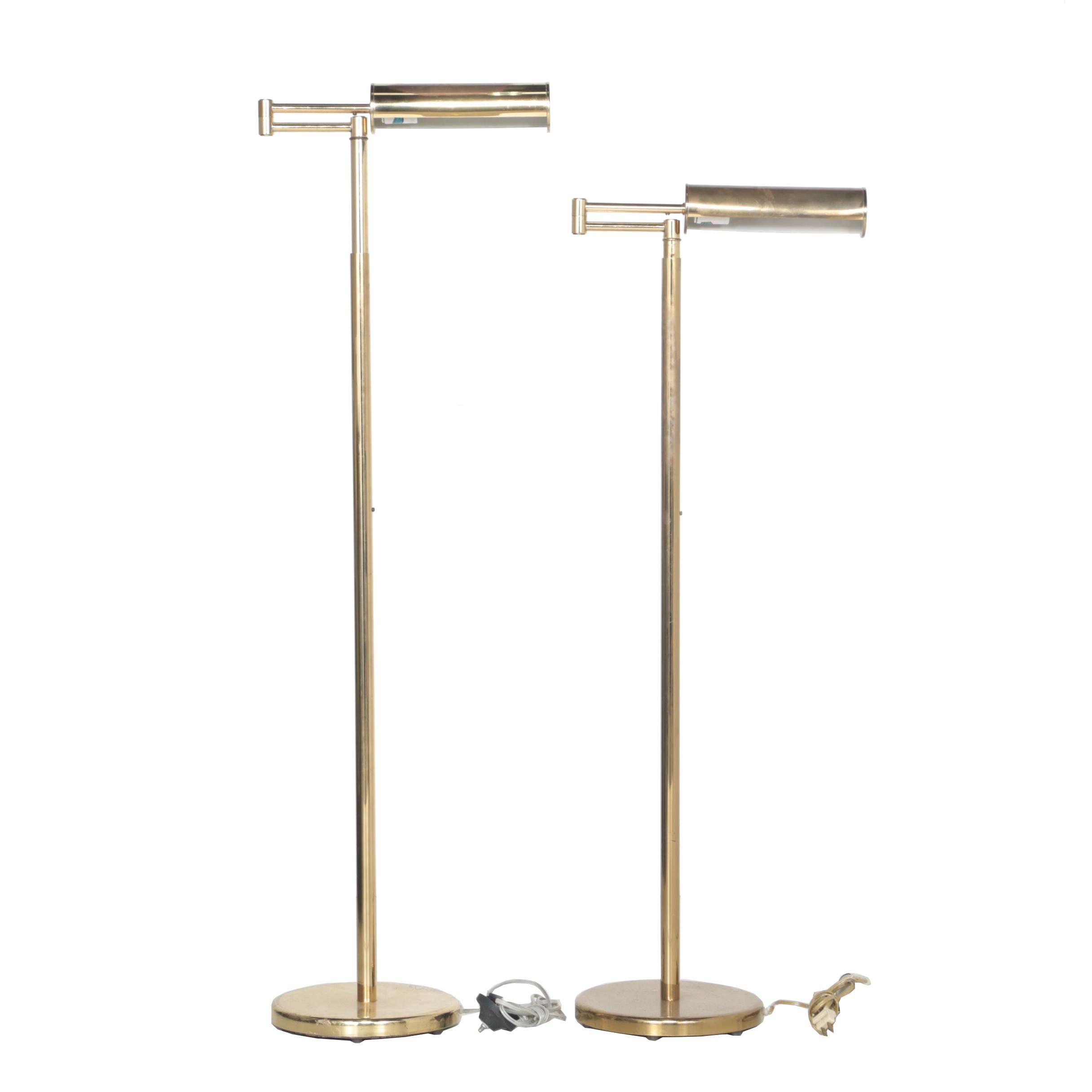 Mid Century Modern Walter Von Nessen Brass Swing Arm Floor Lamps