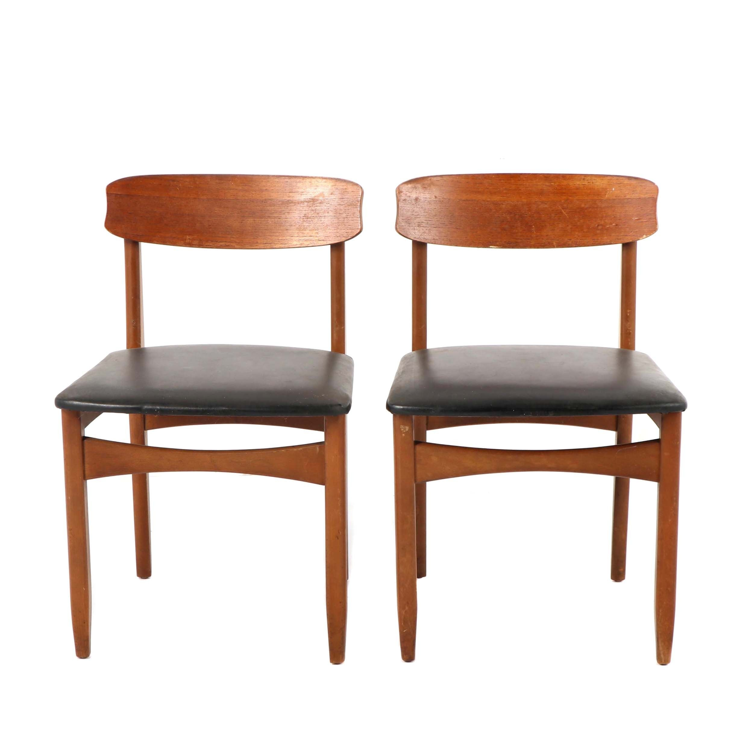 Danish Modern Vinyl Upholstered Side Chairs, Mid 20th Century