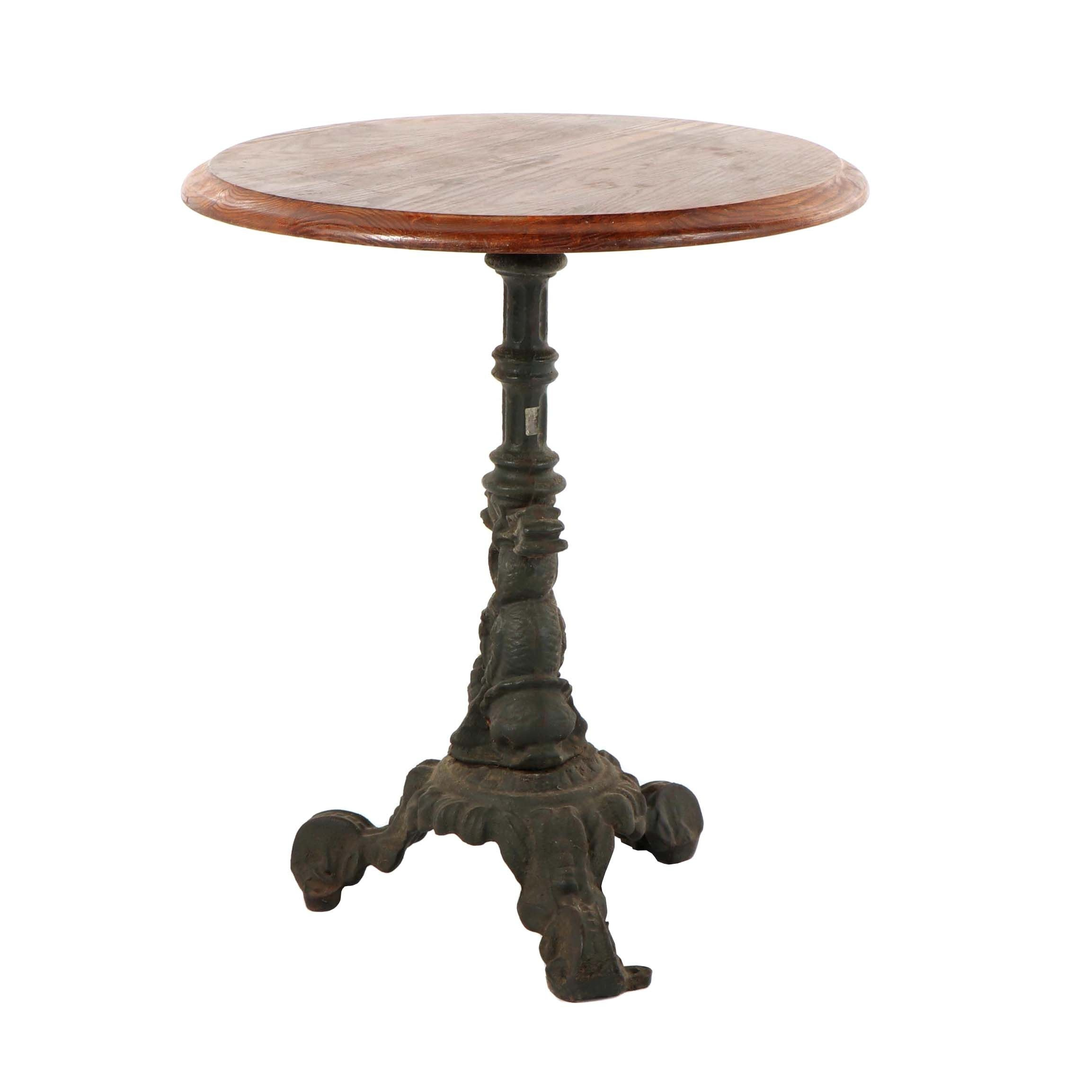 Cast Iron and Oak Pedestal Side Table, Early 20th Century
