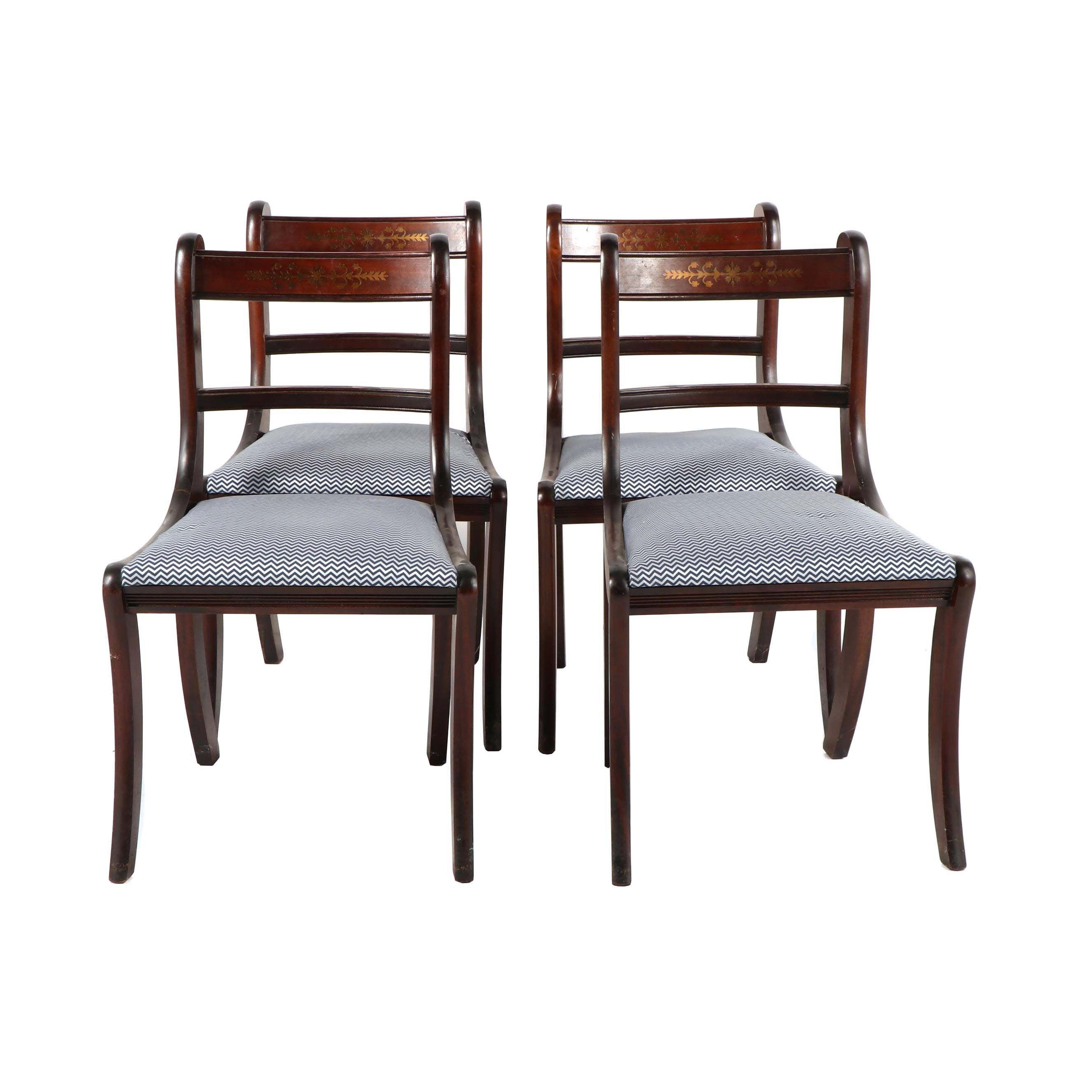 Federal Style Upholstered Dining Chairs, Mid 20th Century