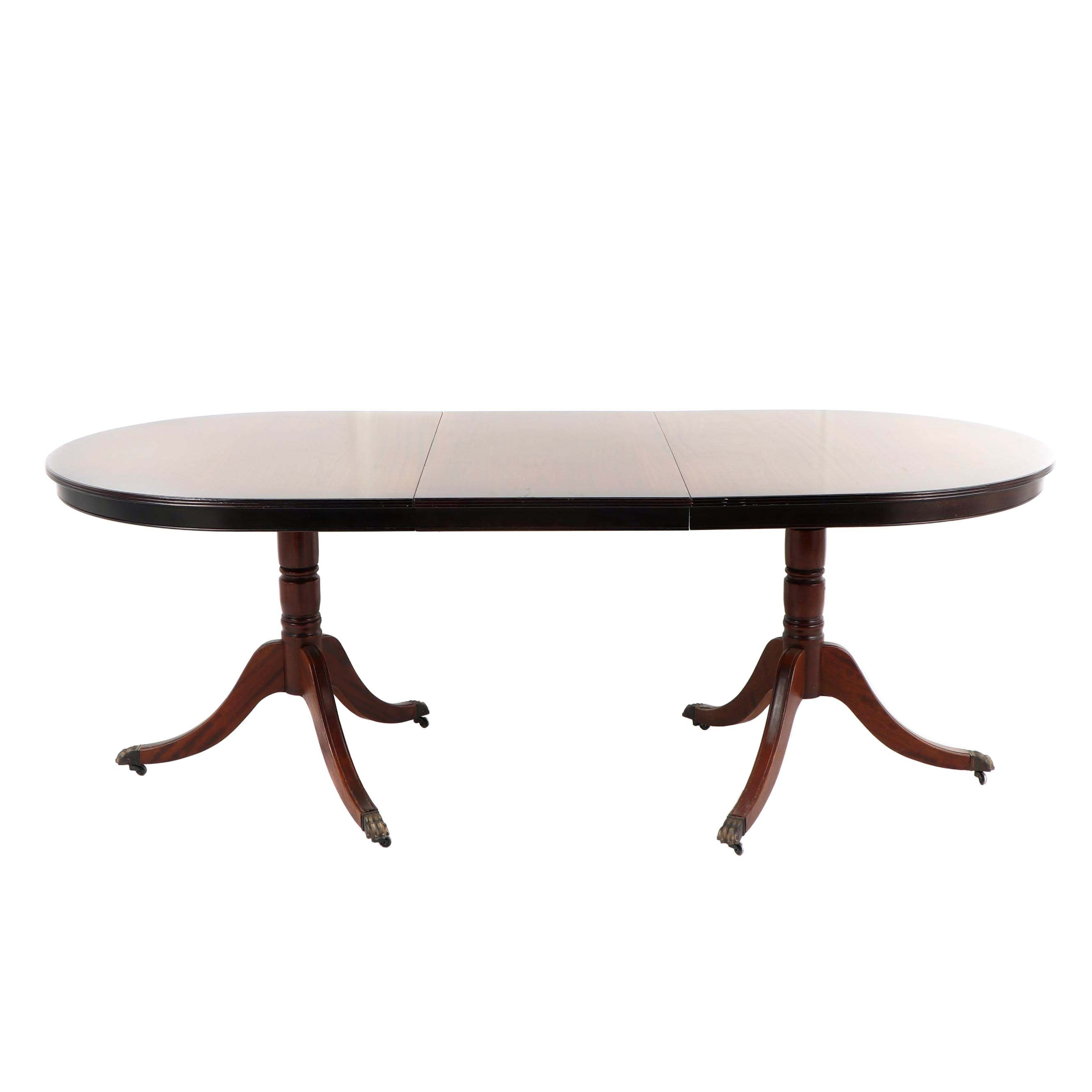 Federal Style Mahogany Double Pedestal Dining Table, Mid 20th Century