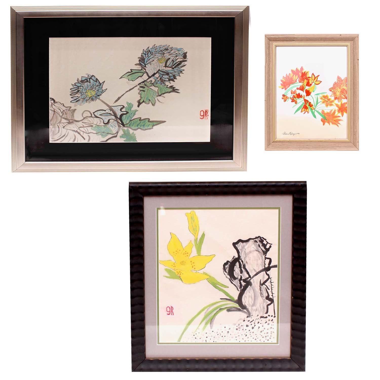 Gloria Riley Framed Floral Watercolors