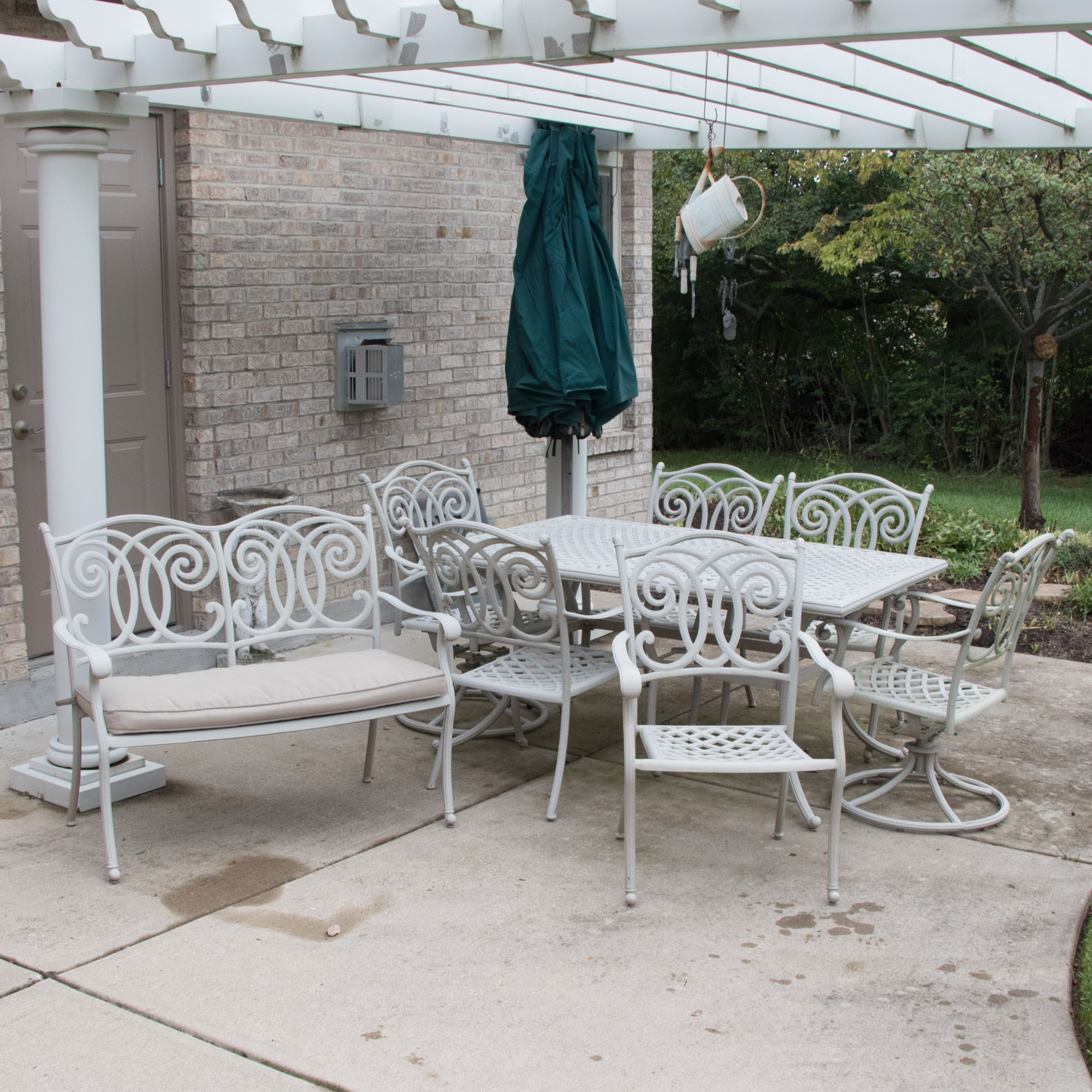 Contemporary Cast Metal Outdoor Patio Dining and Seating Collection