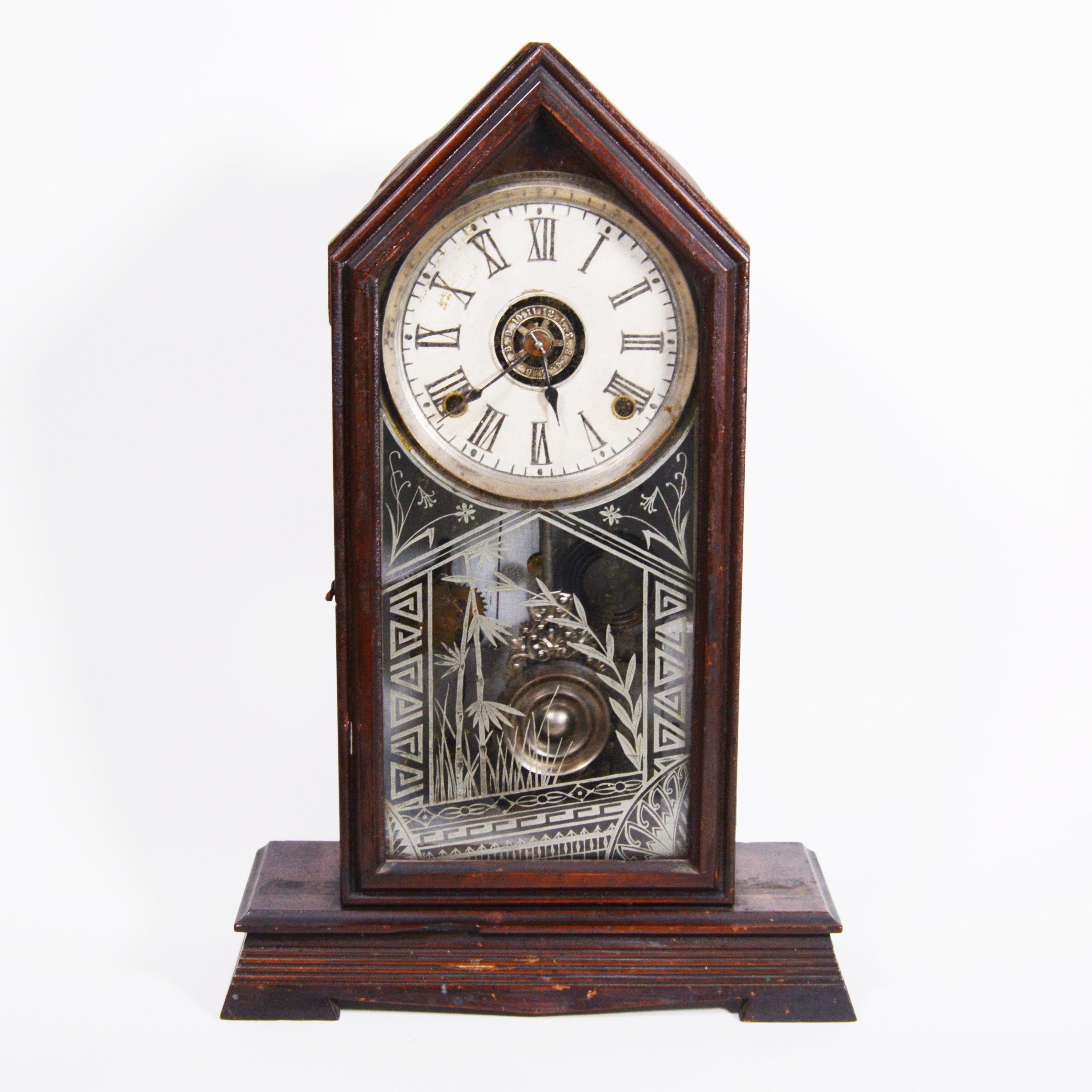 Antique Wood Steeple Clock