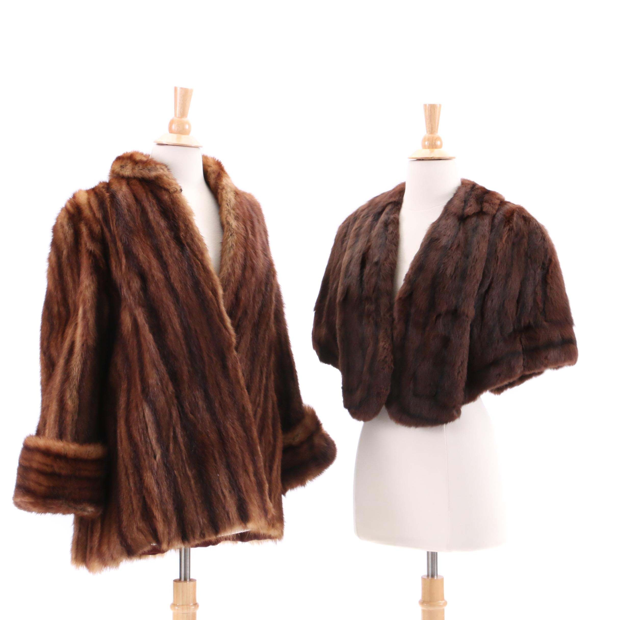 Marmot Fur Coat and Dye Squirrel Fur Stole