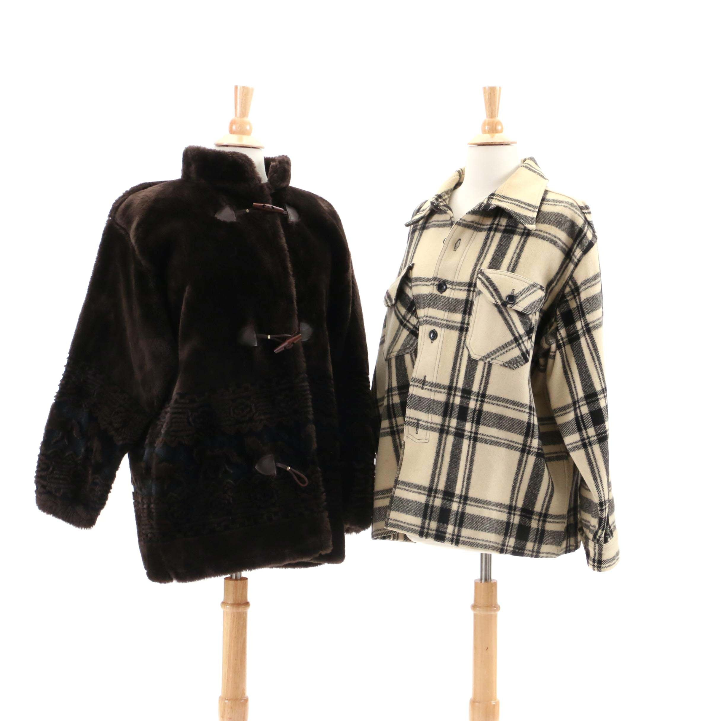 Vintage Bear Ridge Outfitters Faux Fur Coat and Merrill Plaid Wool Overshirt