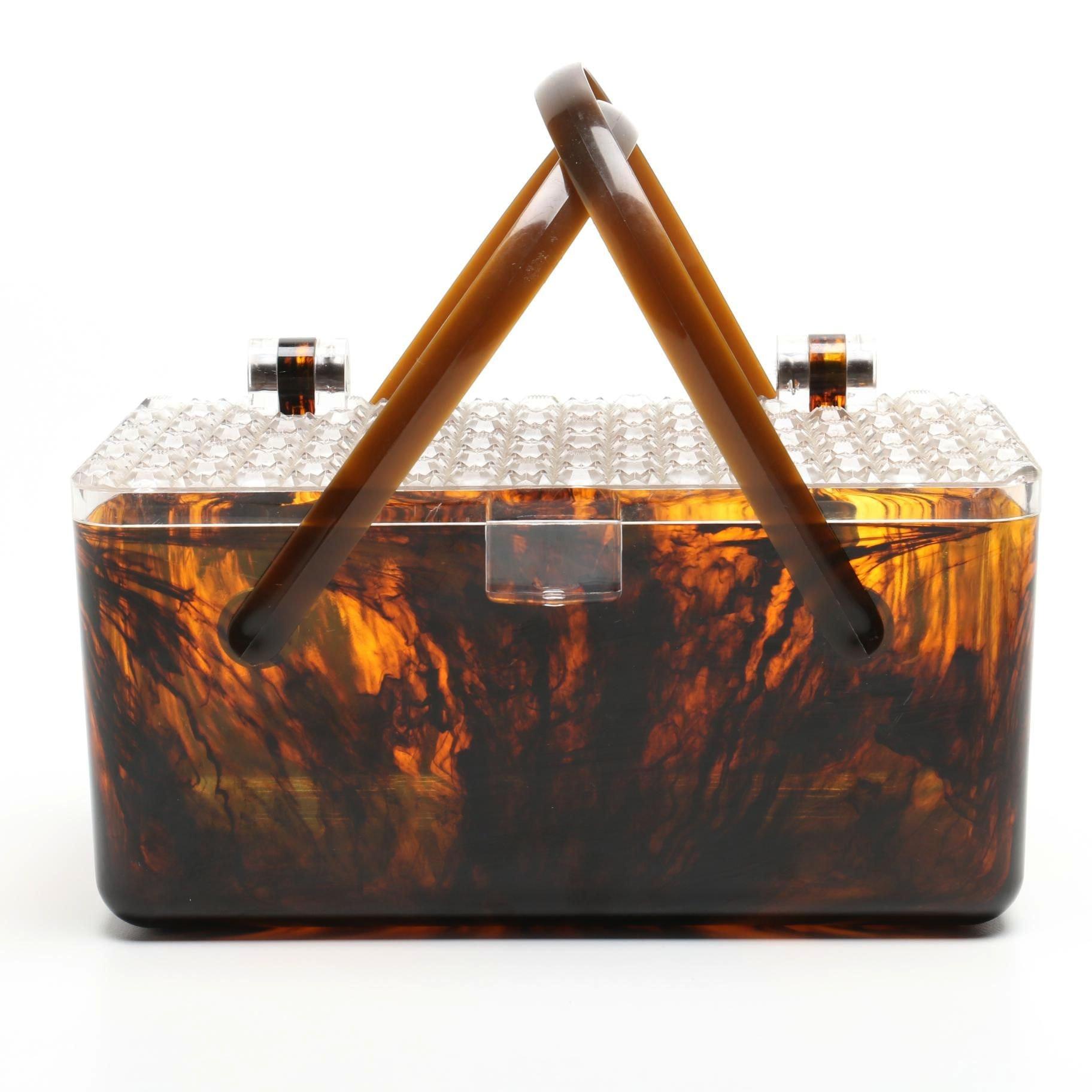 Vintage Tortoiseshell-Style Acrylic Box Purse with Geometric Lid
