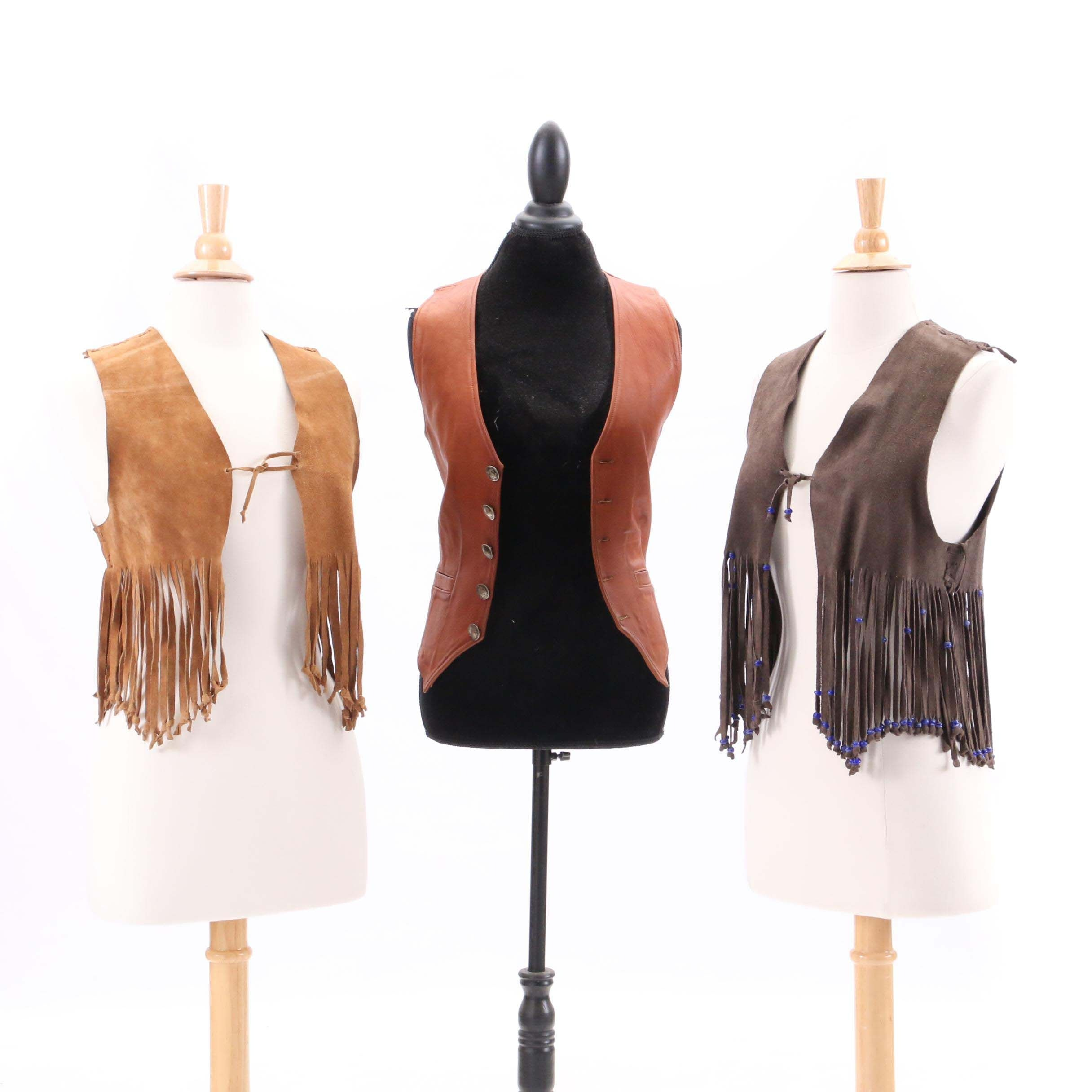 Circa 1970s Vintage Suede Fringe and Leather Vest