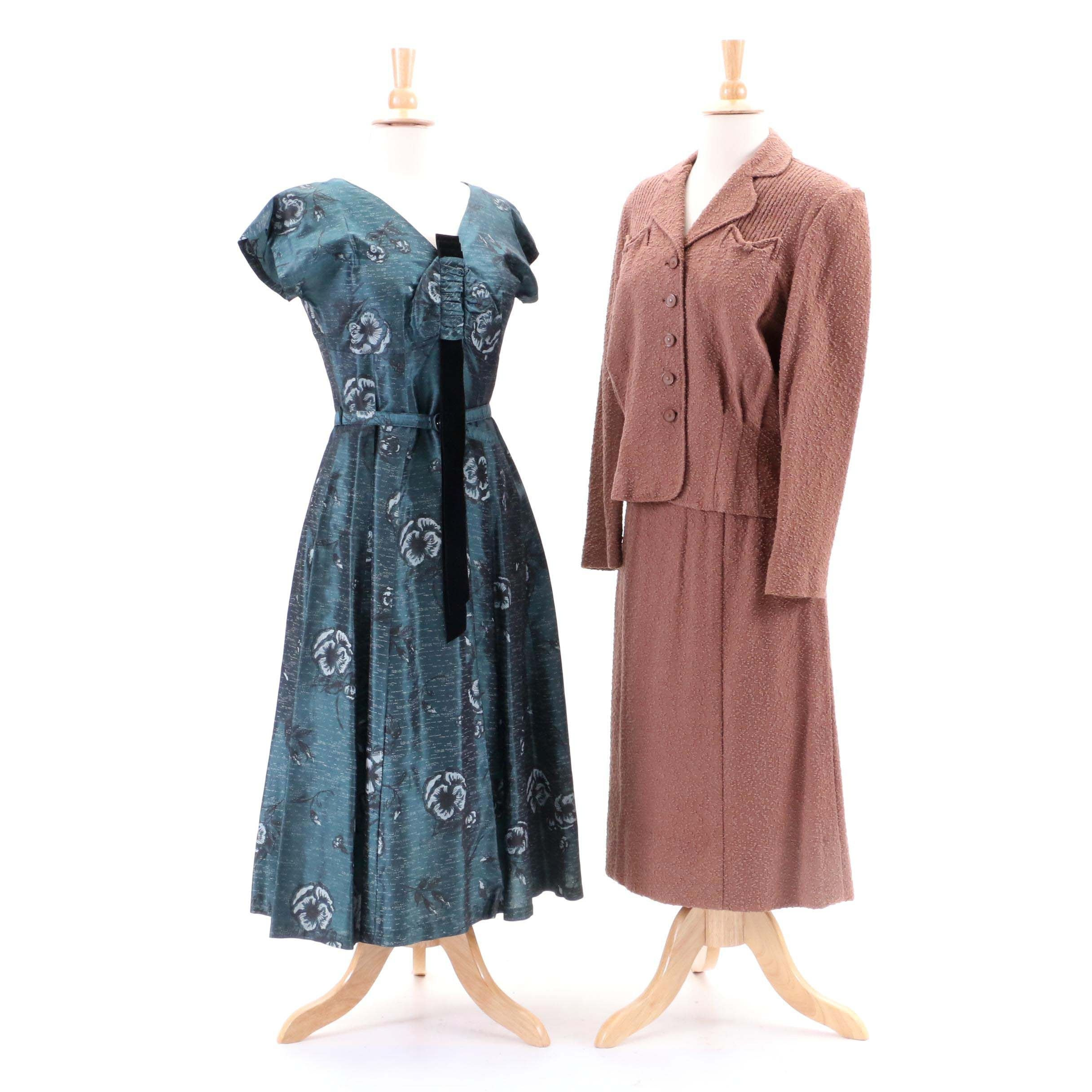 Circa 1950s Vintage Judy Palmer Floral Dress and Groblue Skirt Suit