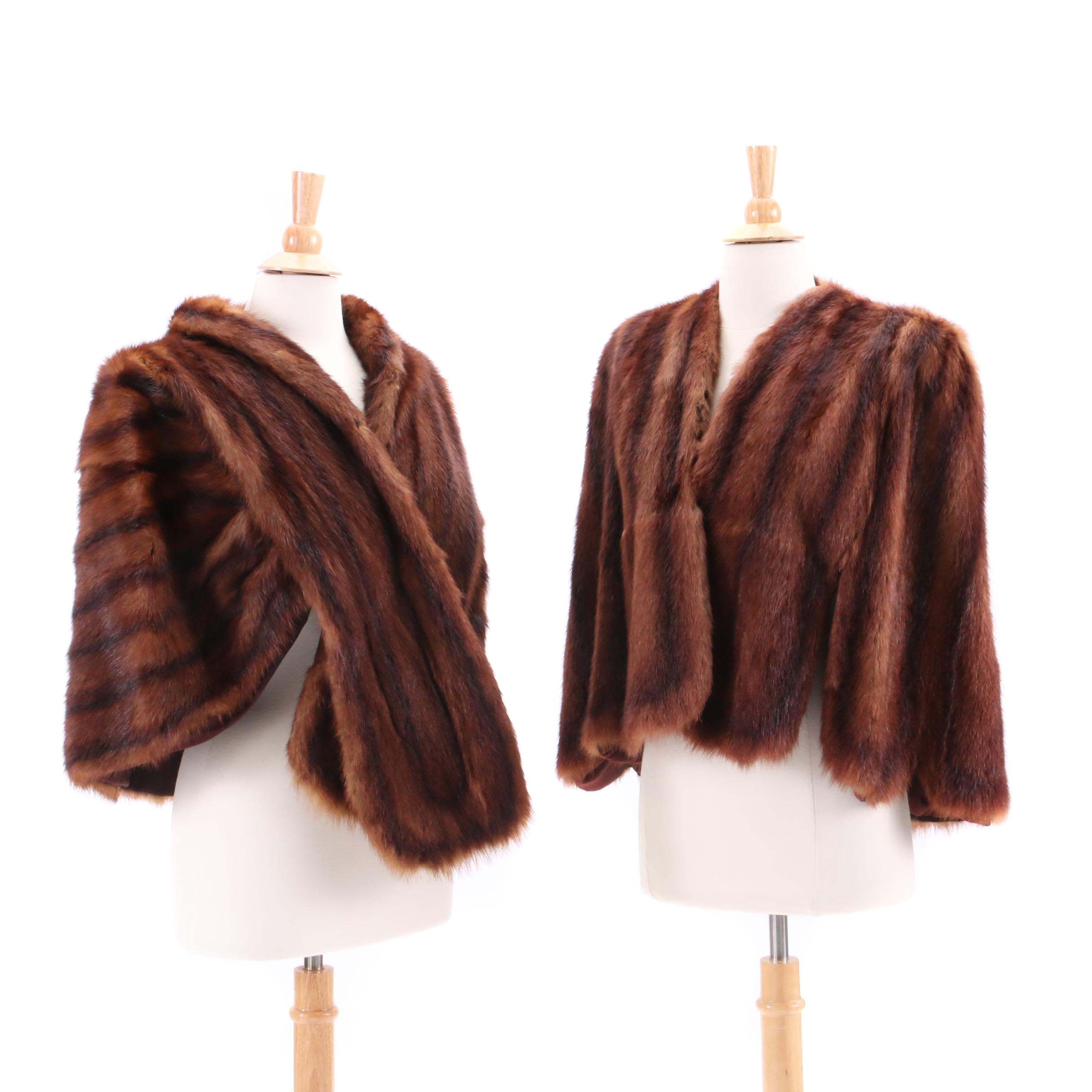 Vintage Dyed Marmot Fur Stole and Capelet