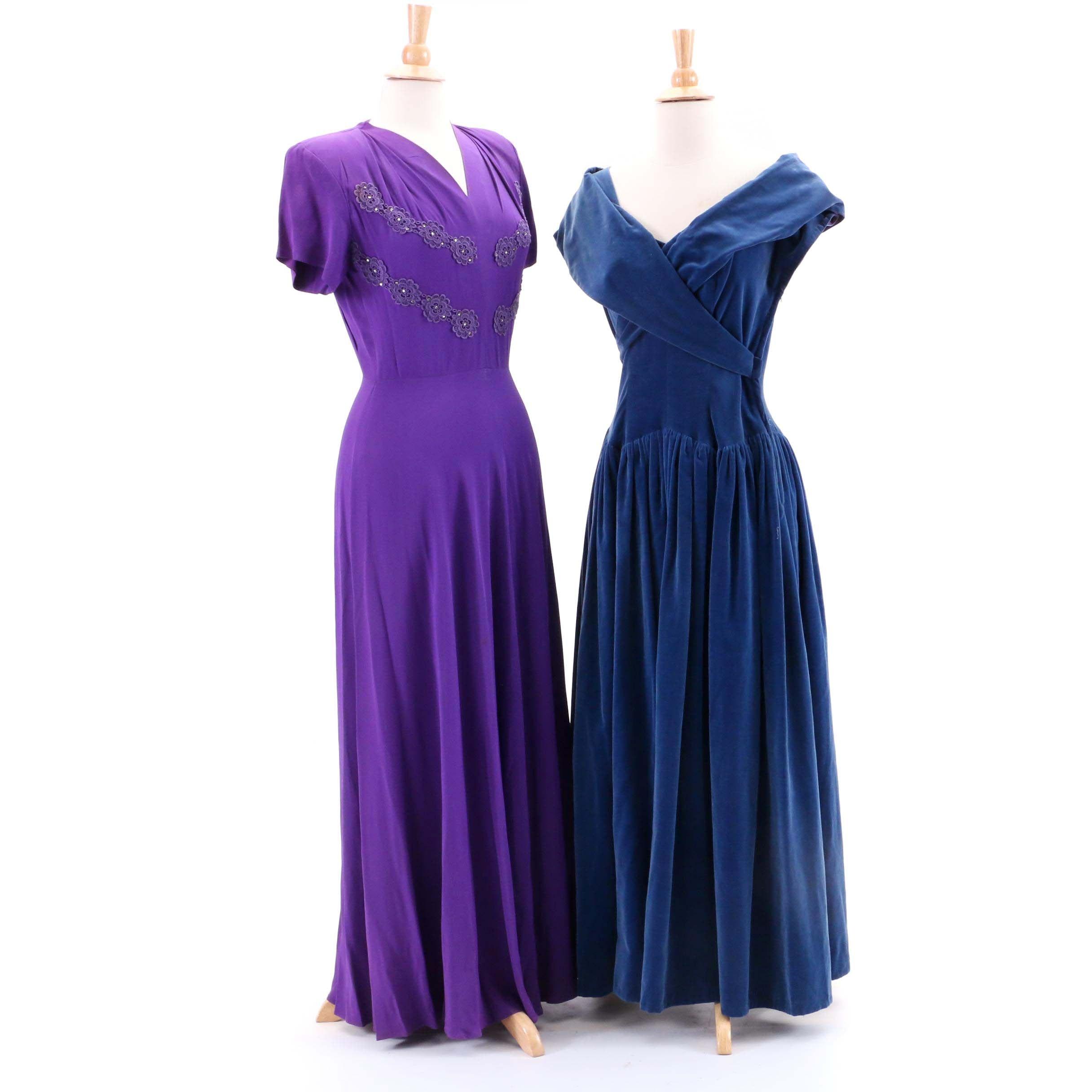 Circa 1940s Vintage Evening Dresses