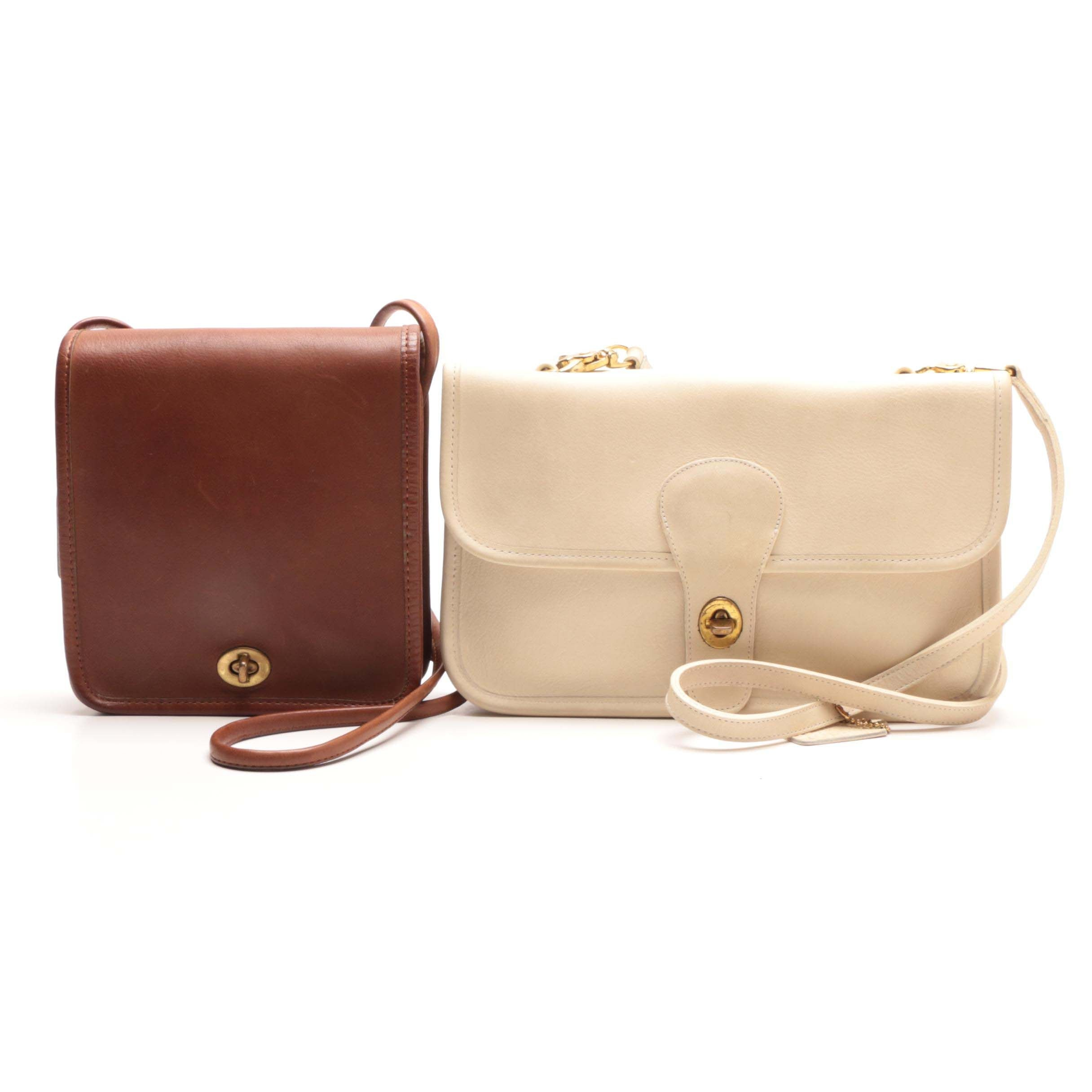 Vintage Coach Rare Twin Clutch in Bone and Compact Pouch Bag in Tabac