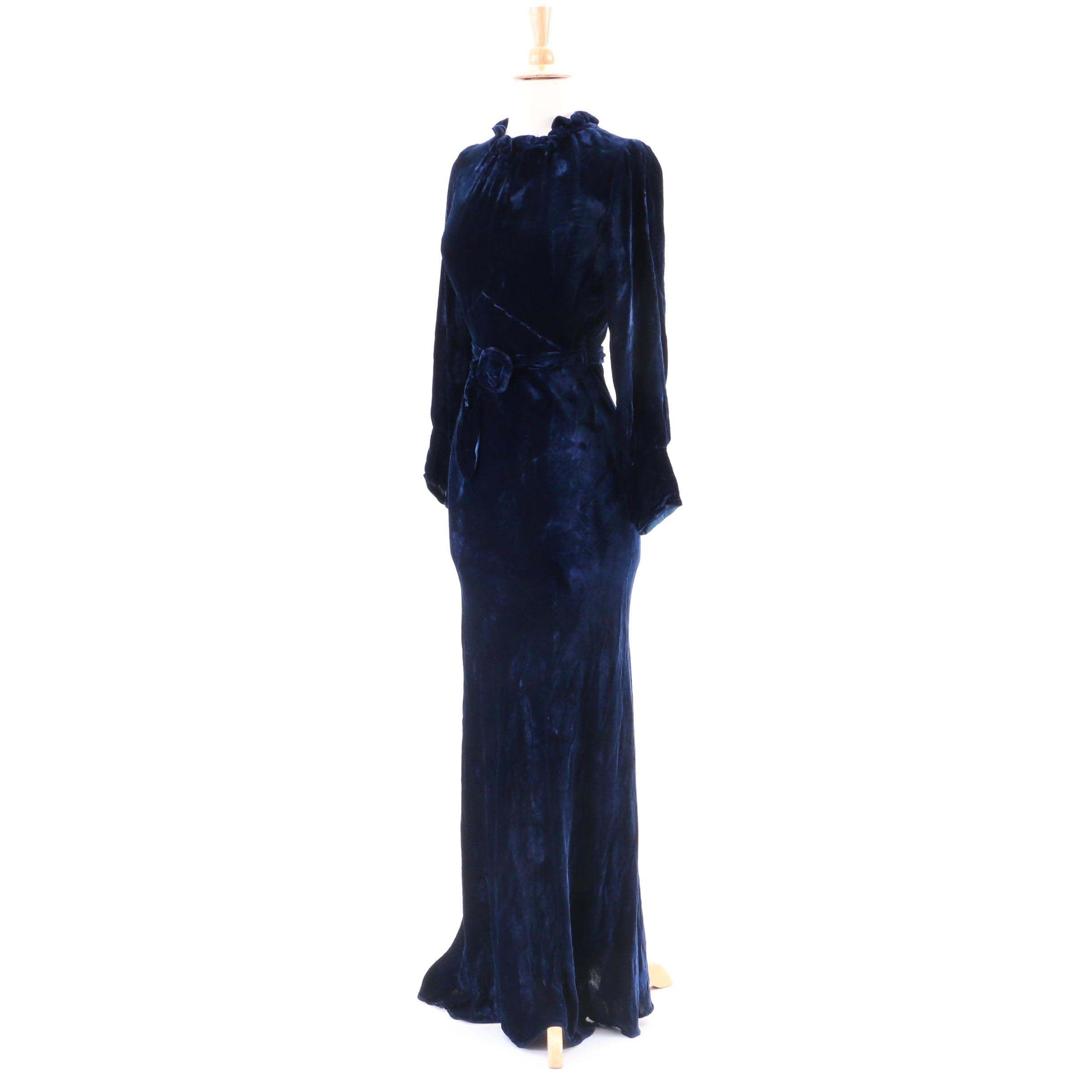 Circa 1930s Vintage Blue Velvet Gown