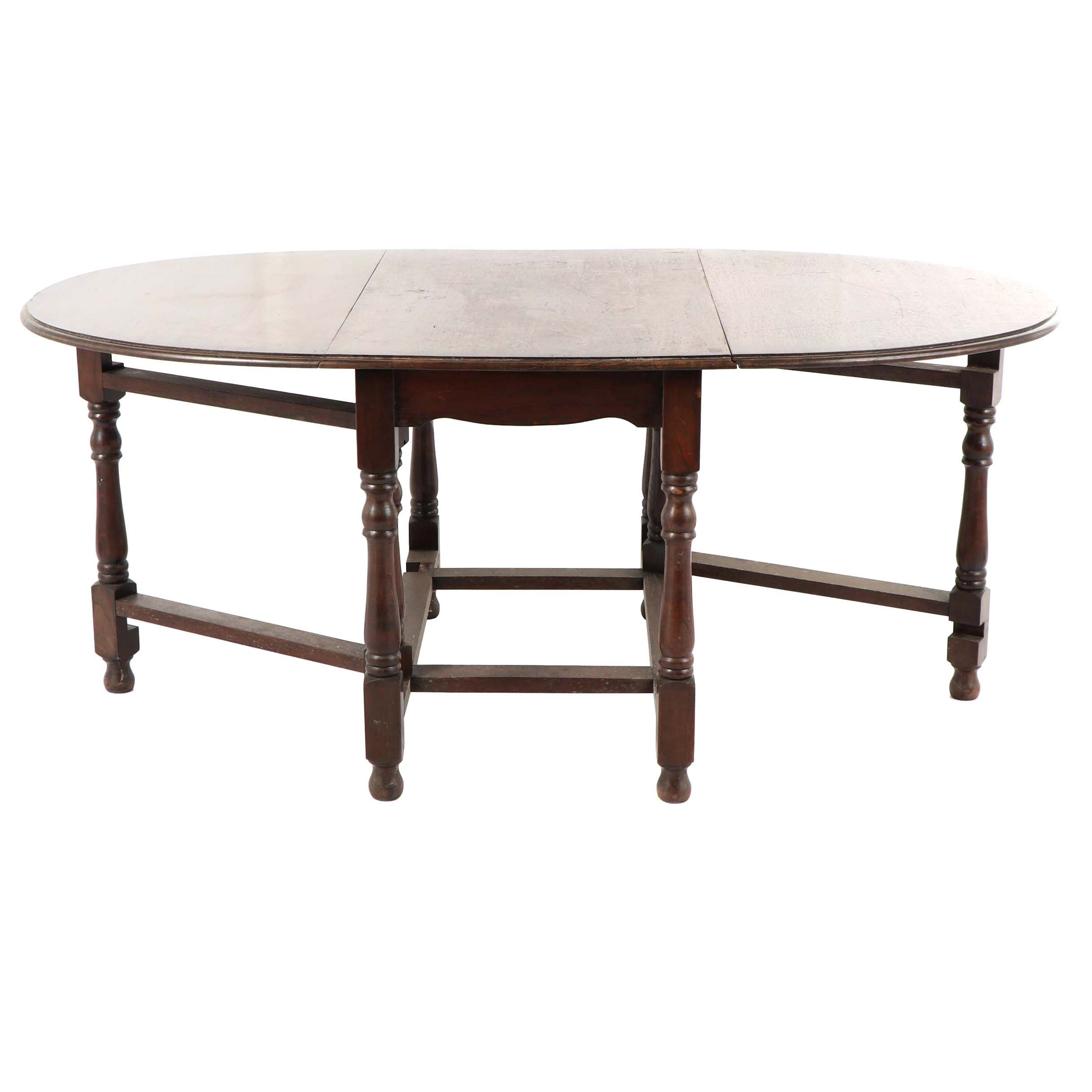 Oak Drop Leaf Dining Table, Early 20th Century
