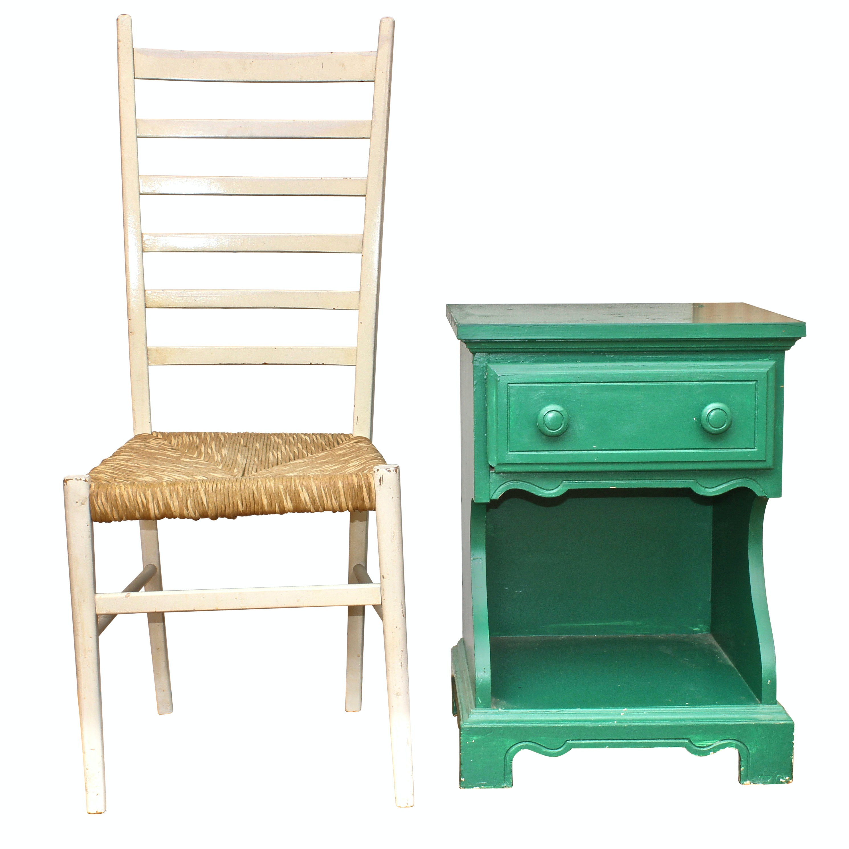 Green Painted Wood Side Table by Dixie and Ladder Back Chair, Late 20th Century