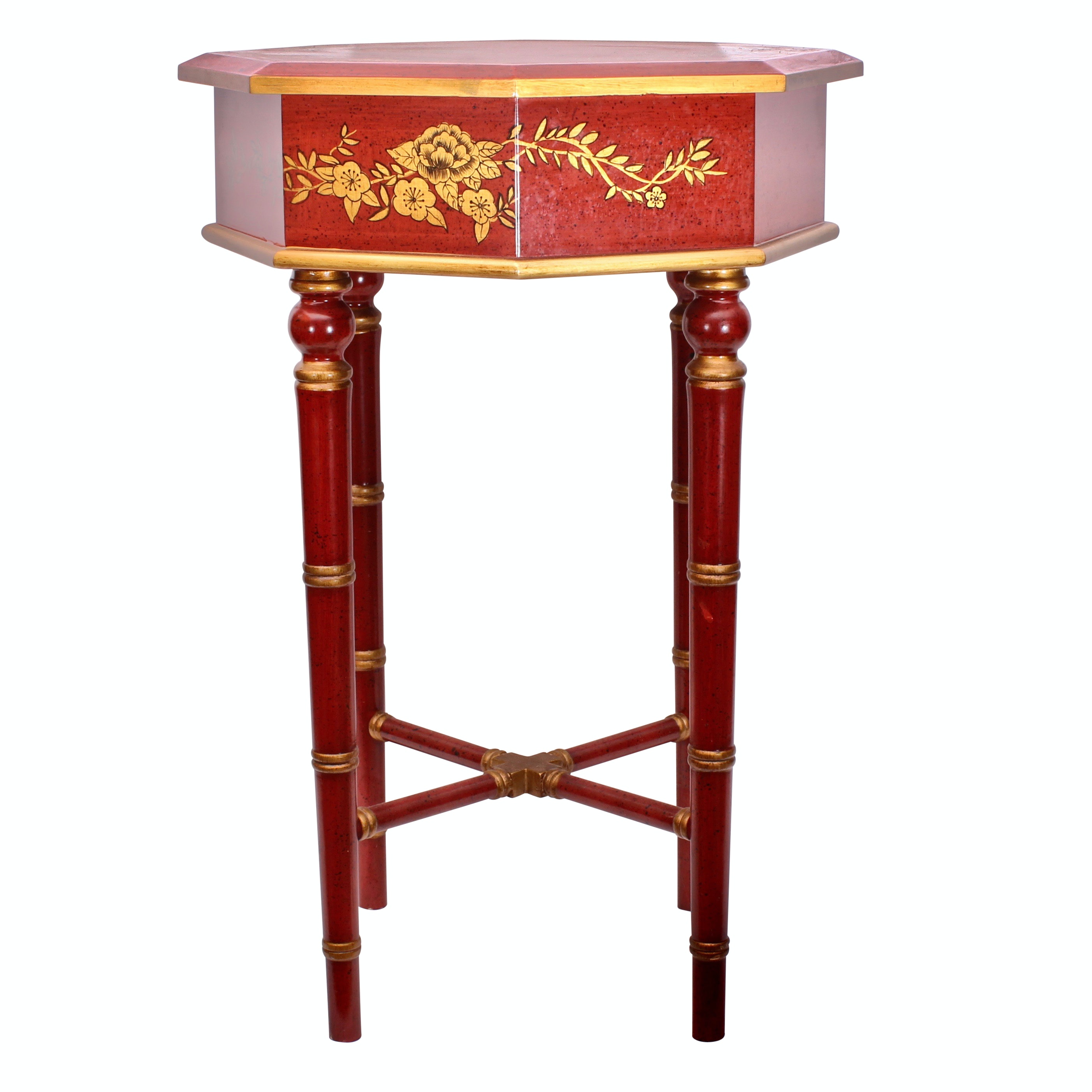 Contemporary Chinoiserie Hand Painted Red Side Table