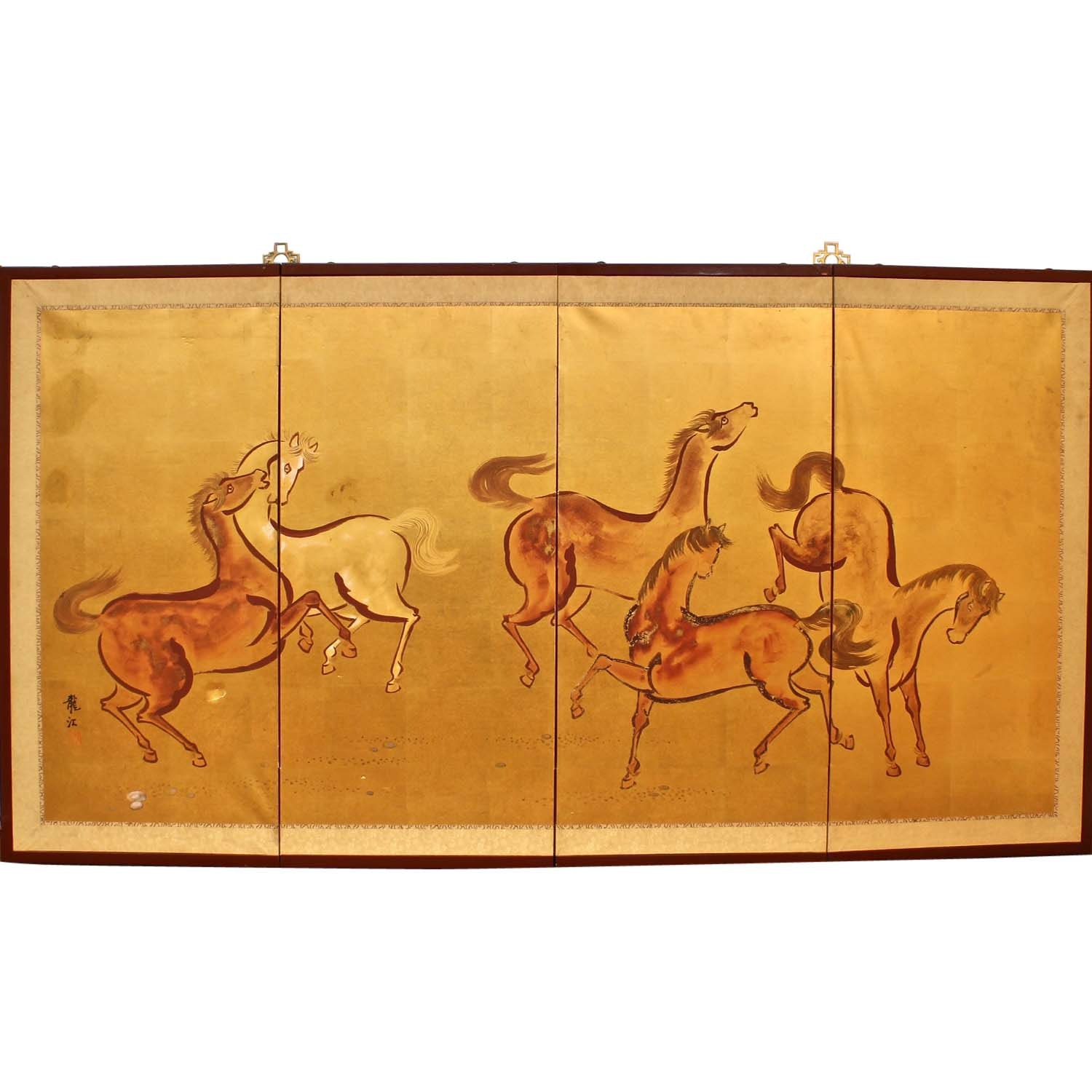 Chinese Hand Painted Folding Screen with Horses