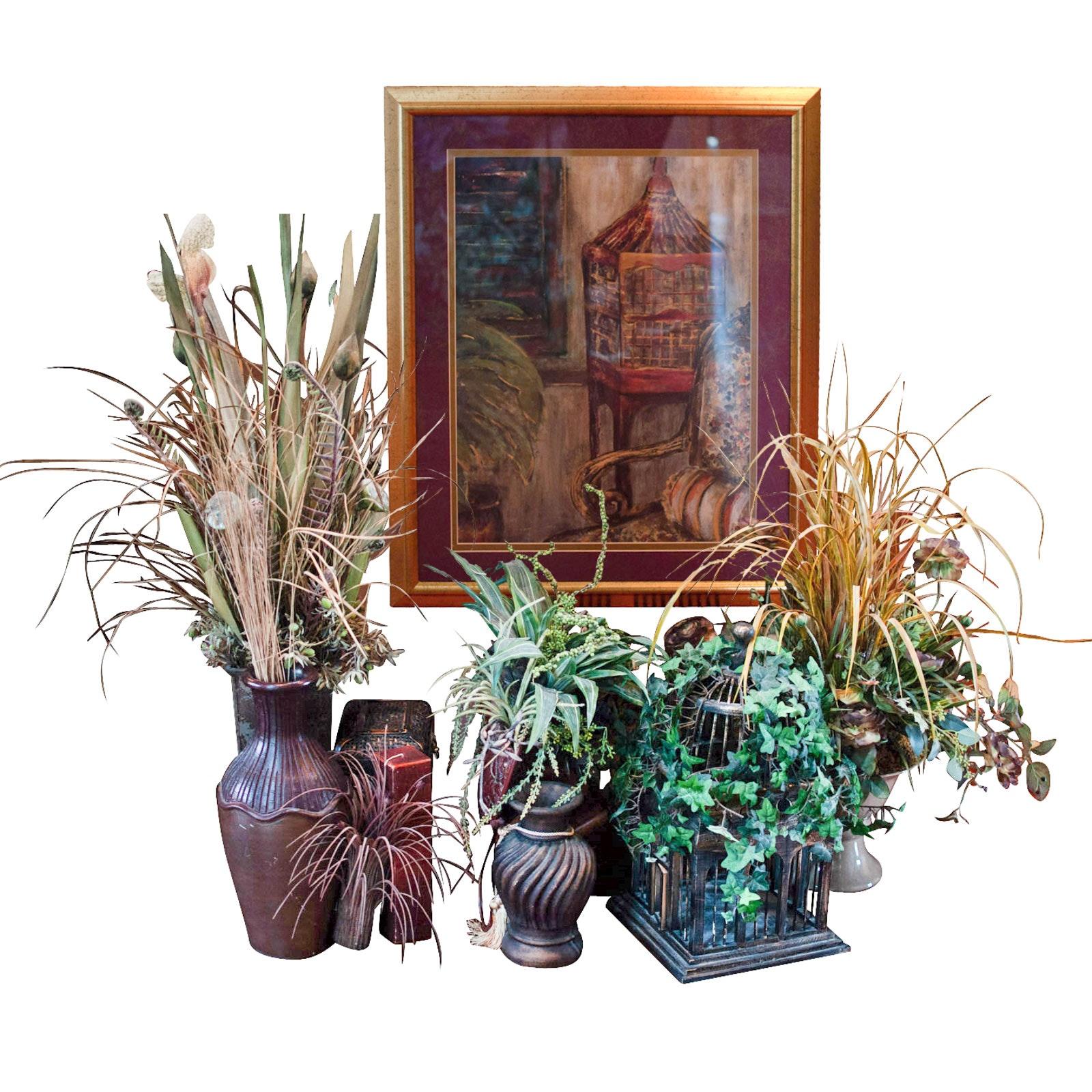 Artificial Floral Arrangements with Framed Print Including Pier 1