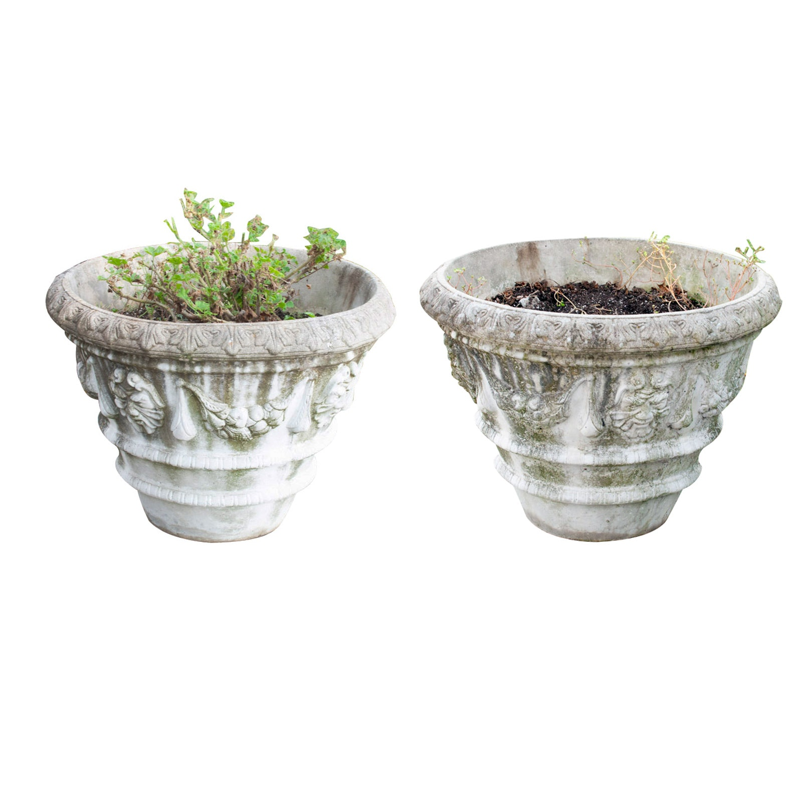 Pair of Large Outdoor Concrete Planters