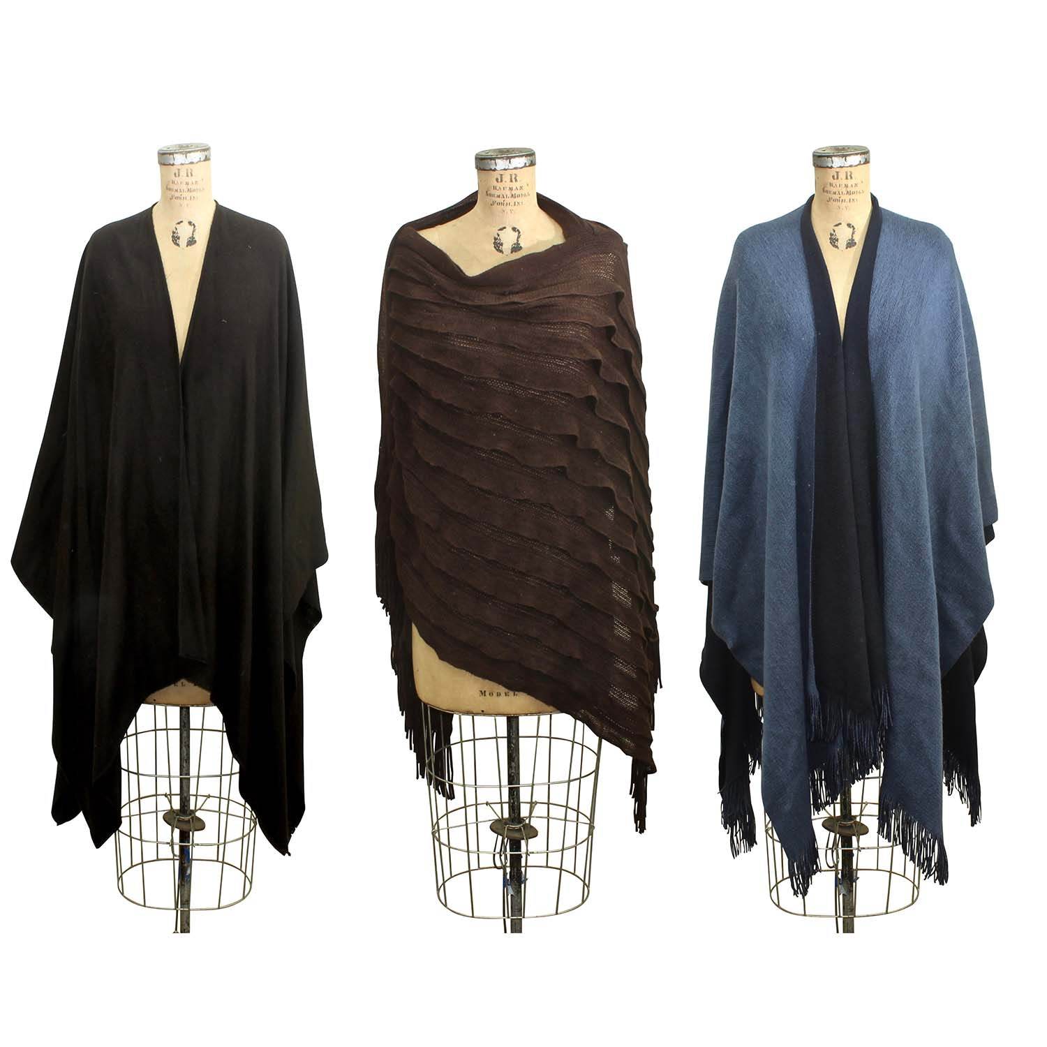 Three Knit Blend Shawls