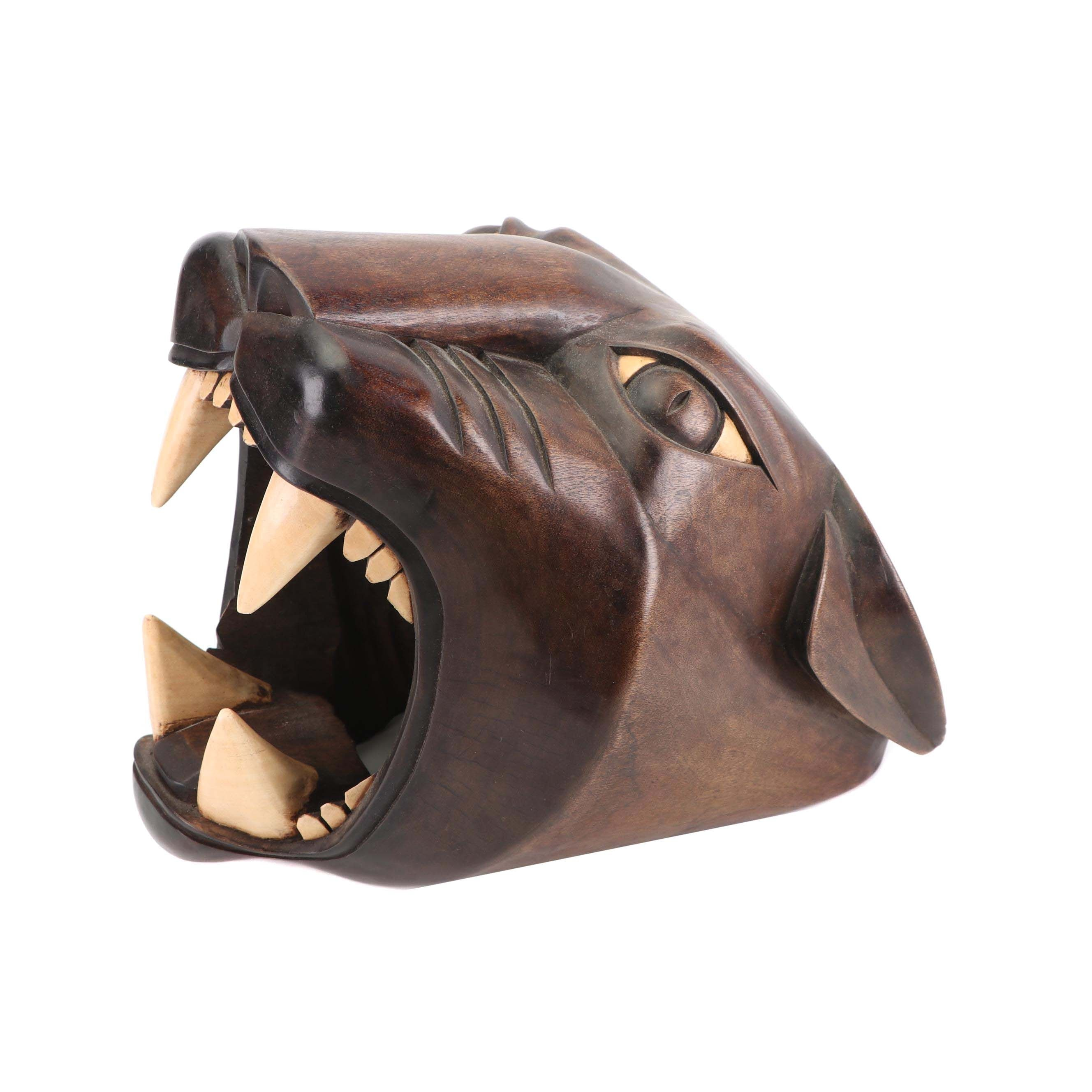 Carved Wood Panther Head