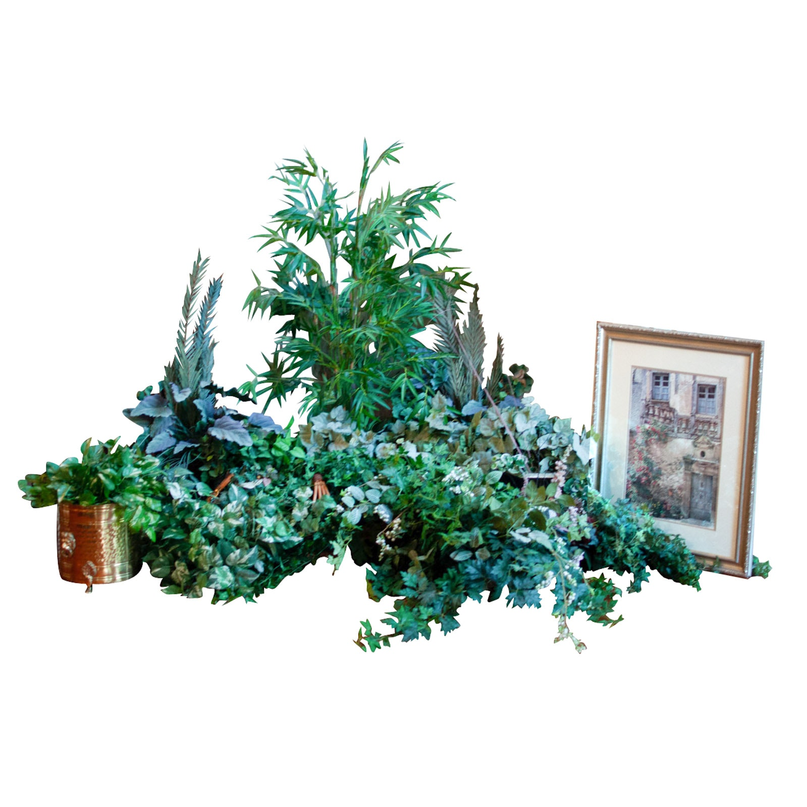 Faux Foliage with Decorative Framed Print