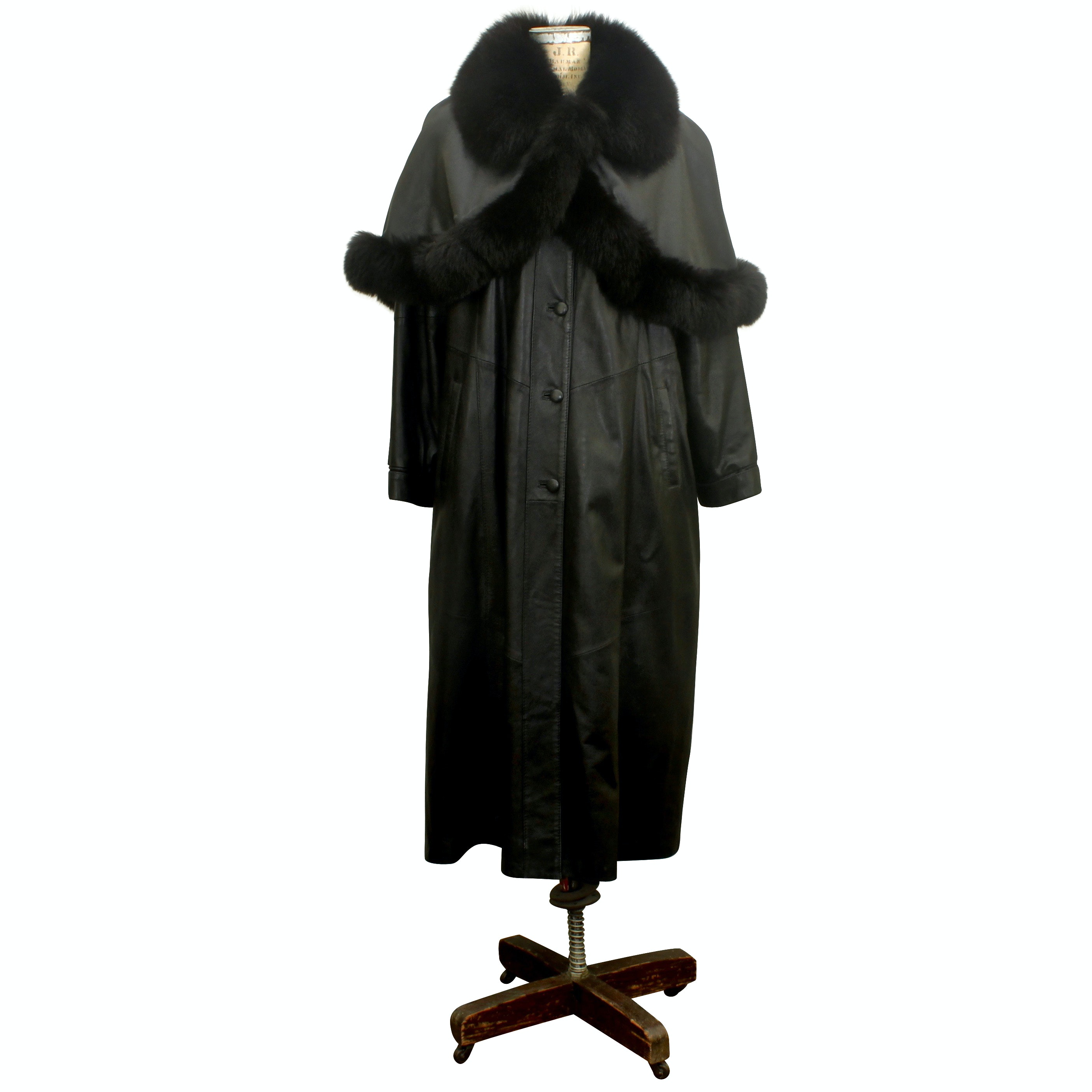Ferrara Black Leather Coat with Dyed Fox Fur Wrap