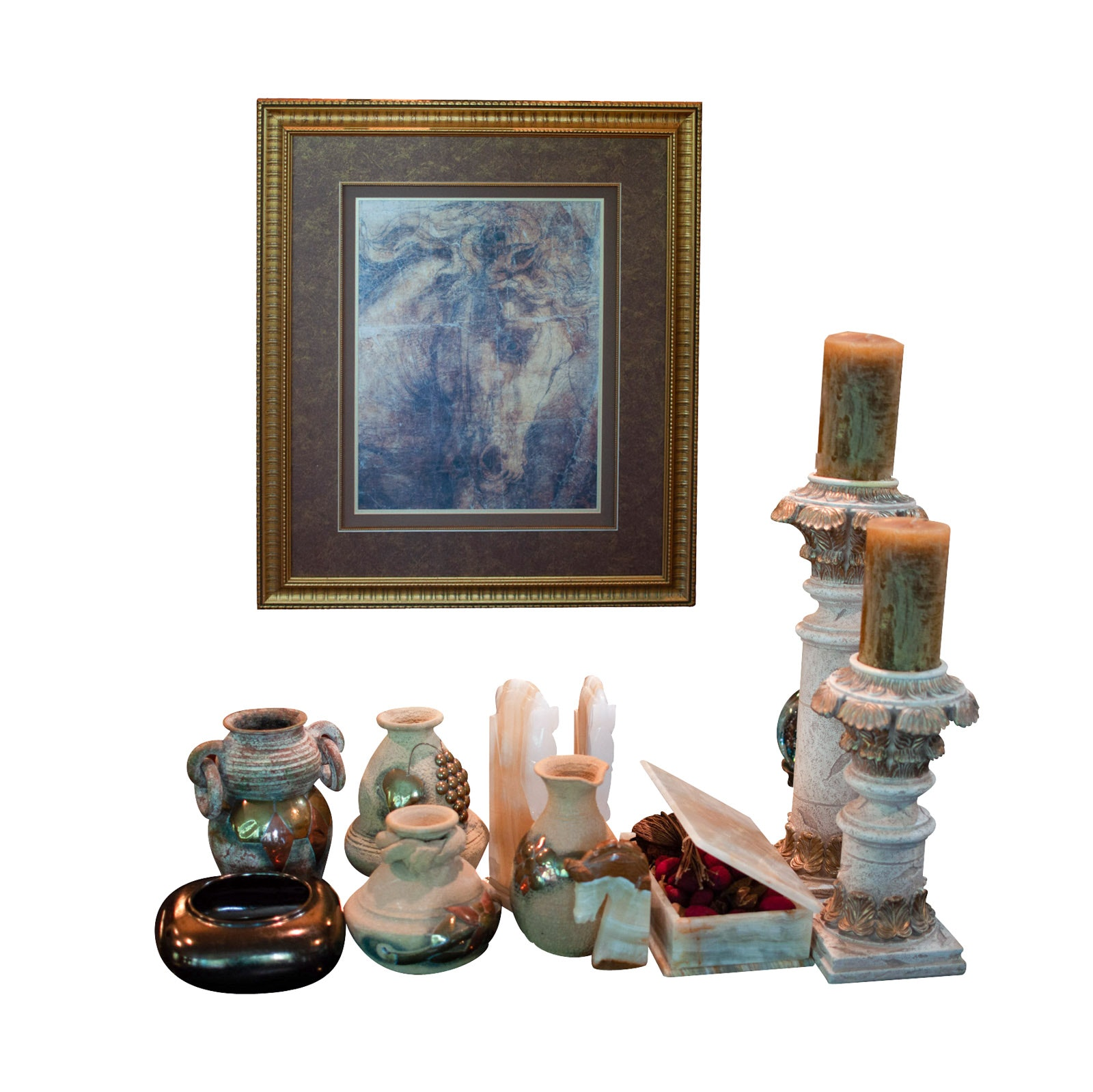 Home Decor including Banded Calcite Horse Bookends and Storage Box